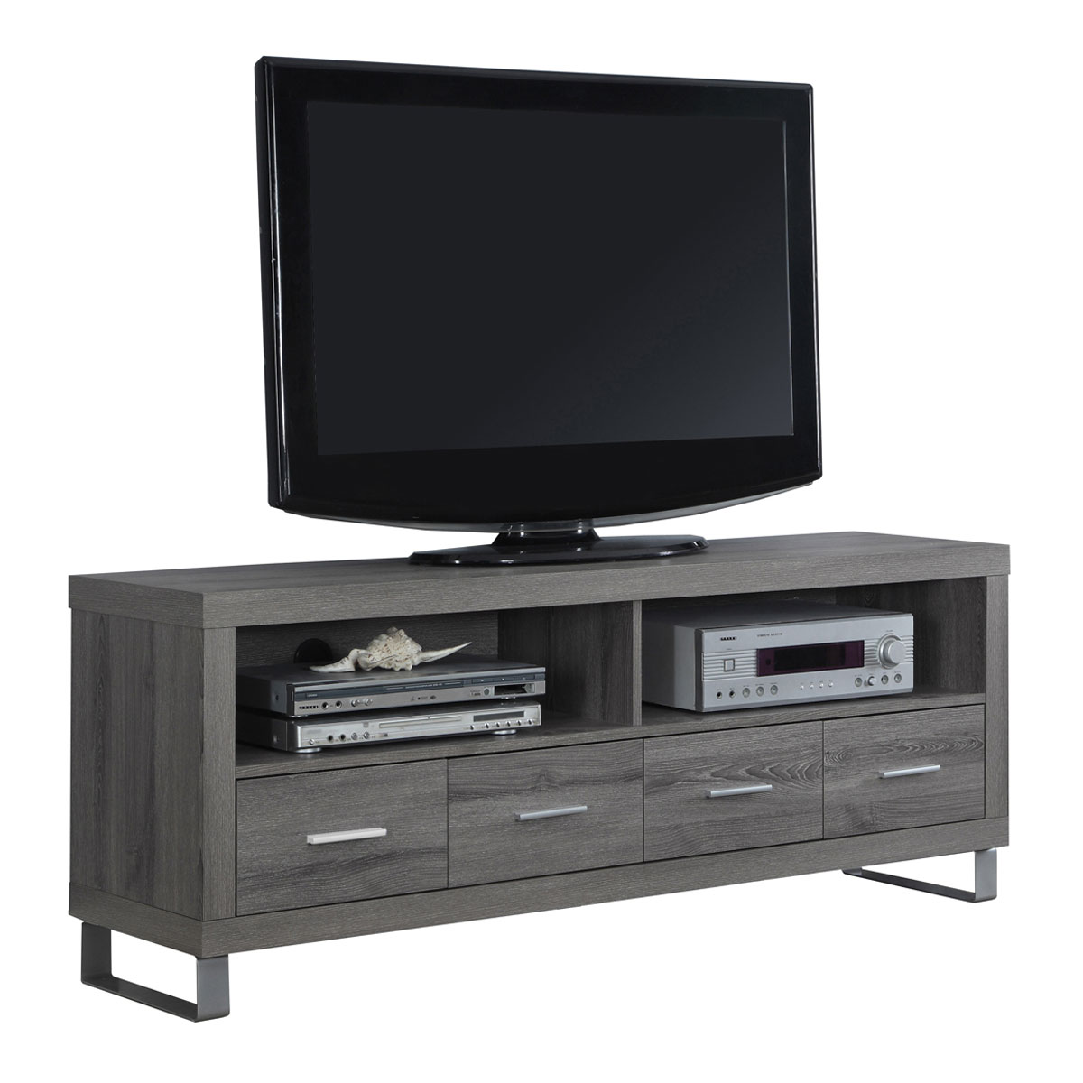 monarch specialties 60 entertainment center tv stand with 4 drawers dark taupe 878218000705 ebay. Black Bedroom Furniture Sets. Home Design Ideas