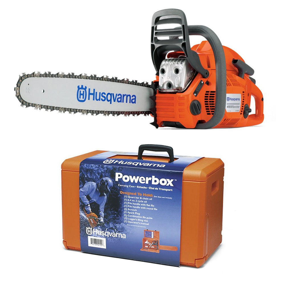 """Husqvarna Powerbox Chainsaw Carrying Case & 455 Rancher 20"""" Gas Powered  Chainsaw"""