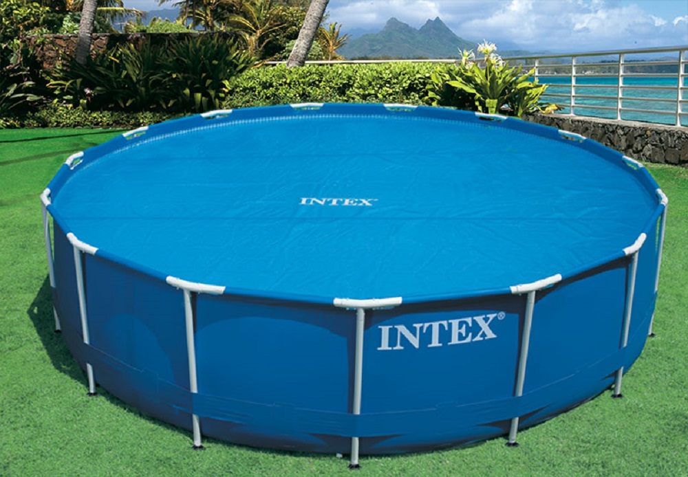 Intex 15 foot round easy set vinyl solar cover for for Vinyl swimming pool