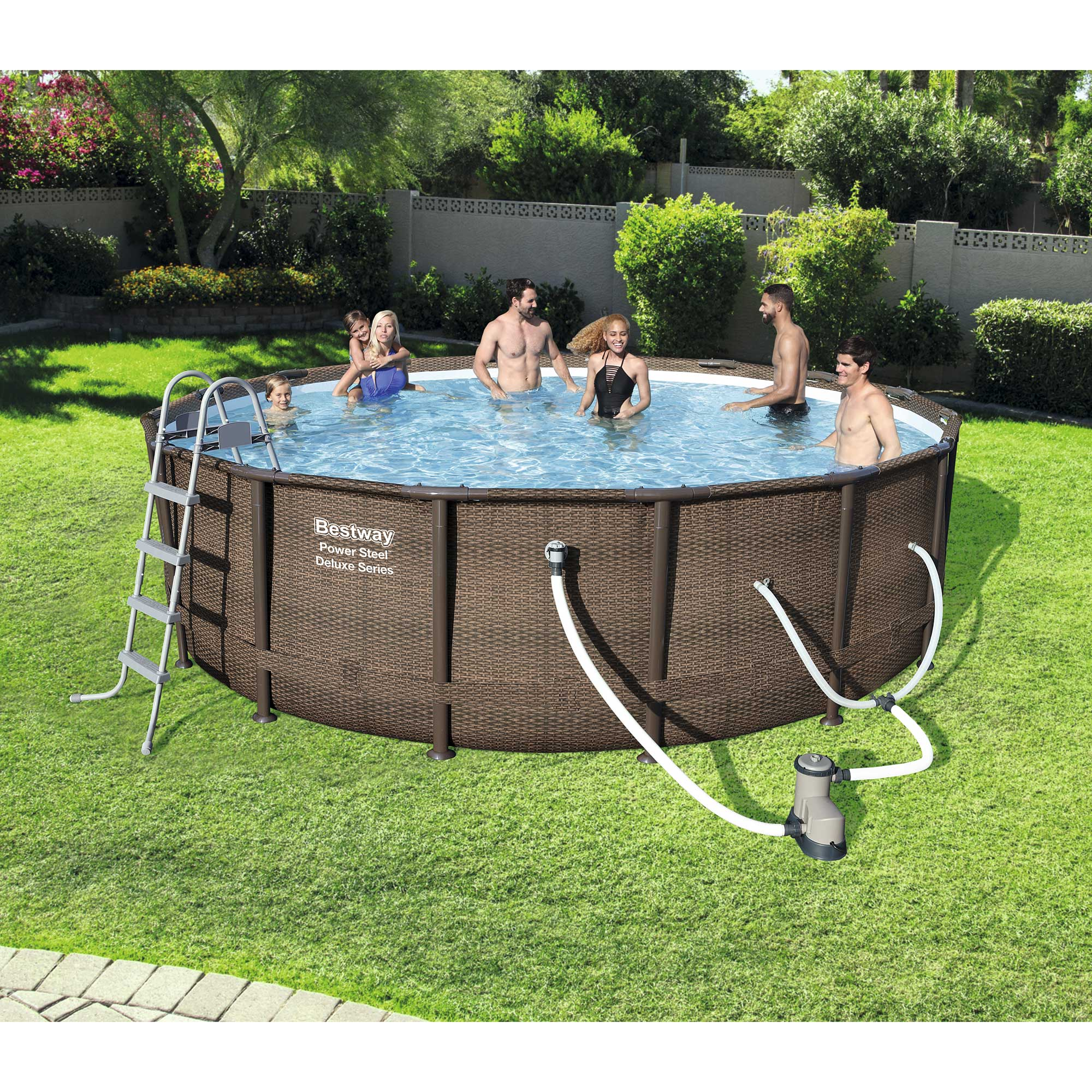 bestway 16 39 x 48 power steel frame above ground swimming pool set with pump 821808151257 ebay. Black Bedroom Furniture Sets. Home Design Ideas