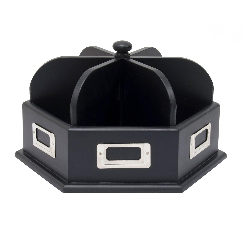 Studio Designs Tabletop Wood Desk Carousel Home Office Storage Organizer Black