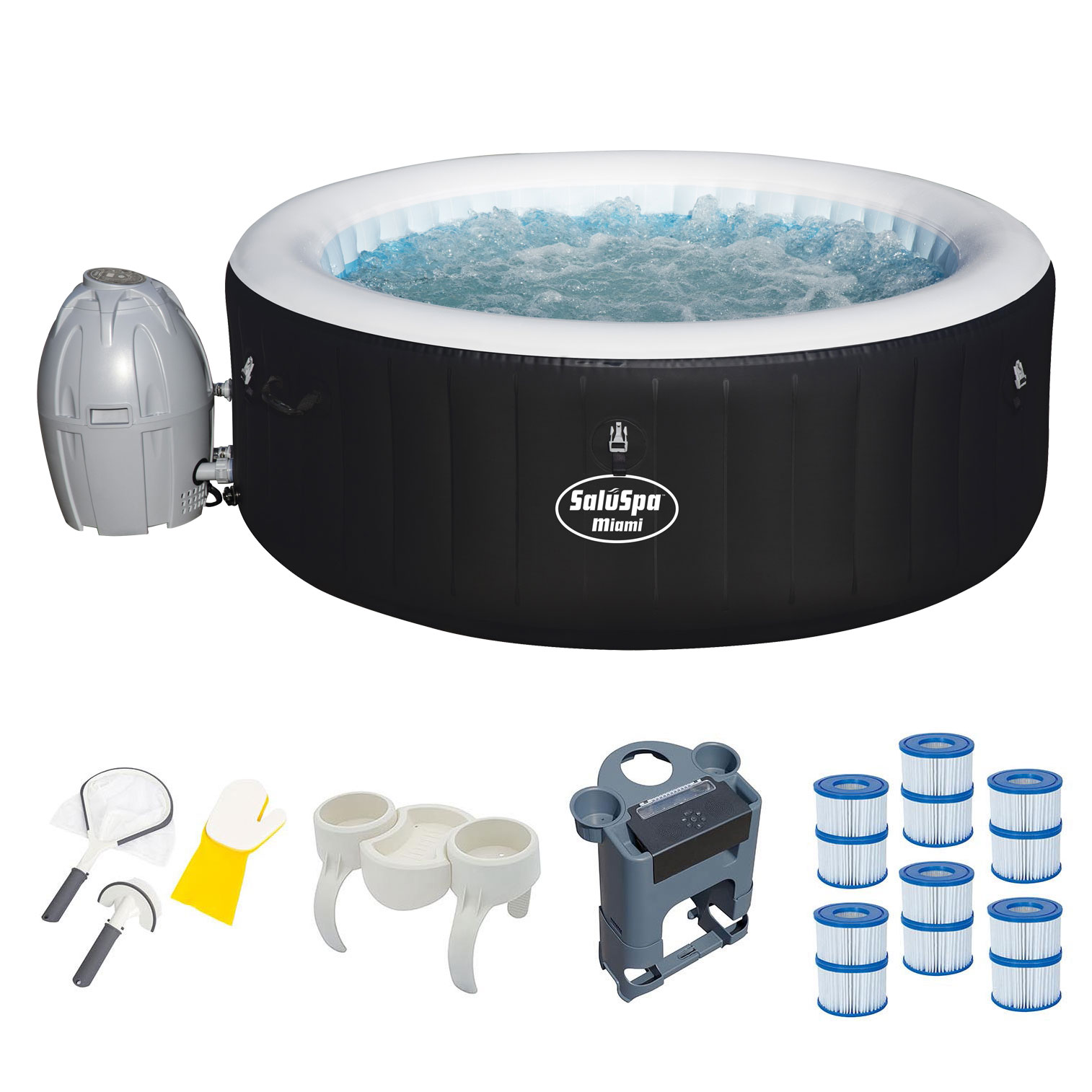 Bestway Inflatable Hot Tub + Entertainment Center + 6 Filters + ...