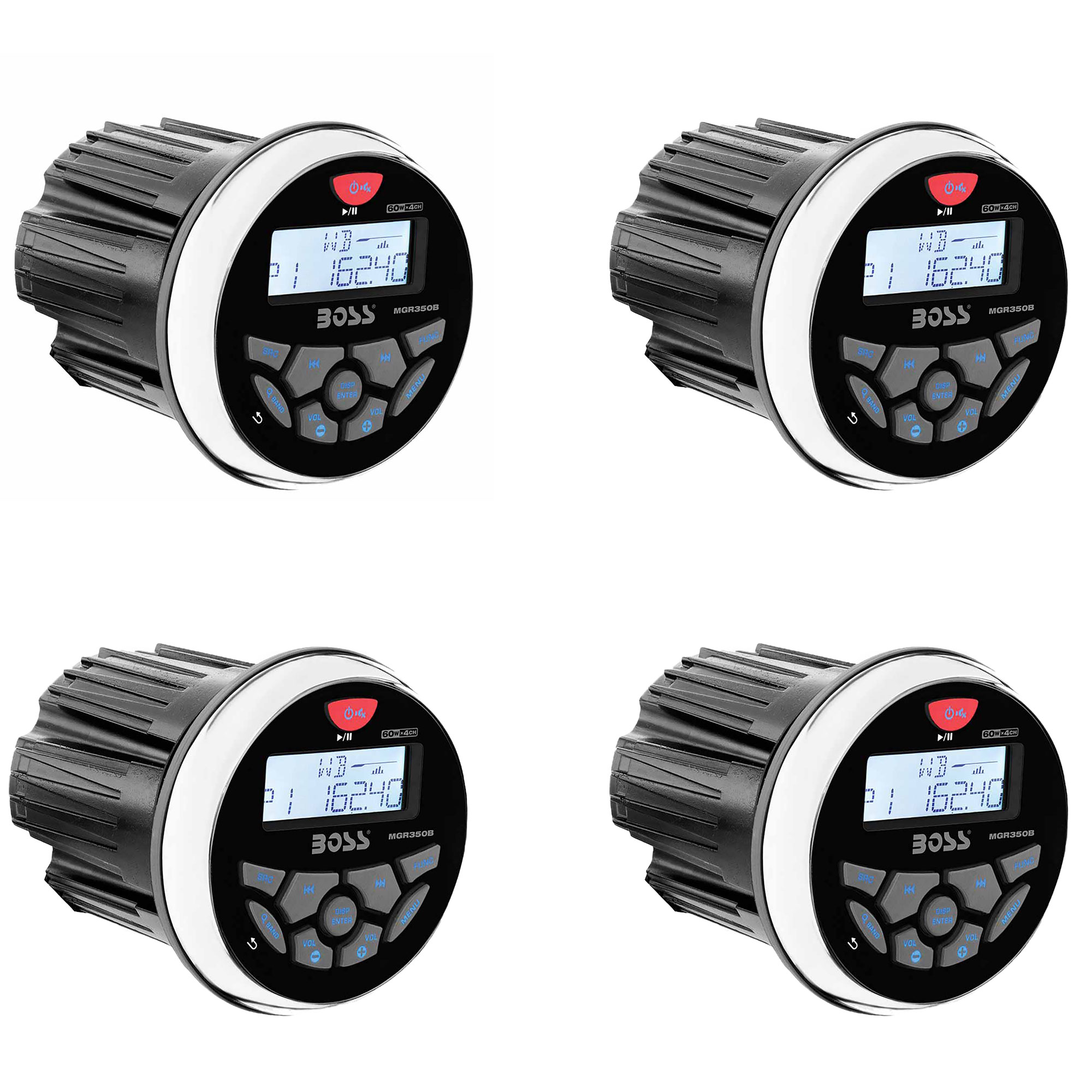 """Boss Audio MGR350B 3"""" Gauge Hole Marine Bluetooth Stereo Boat Receiver (4 Pack)"""