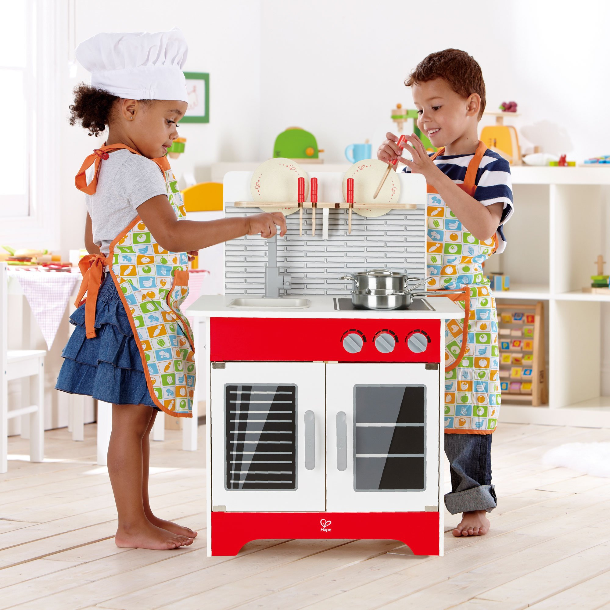 Hape Wooden City Cafe Pretend Cooking Play Kitchen Set