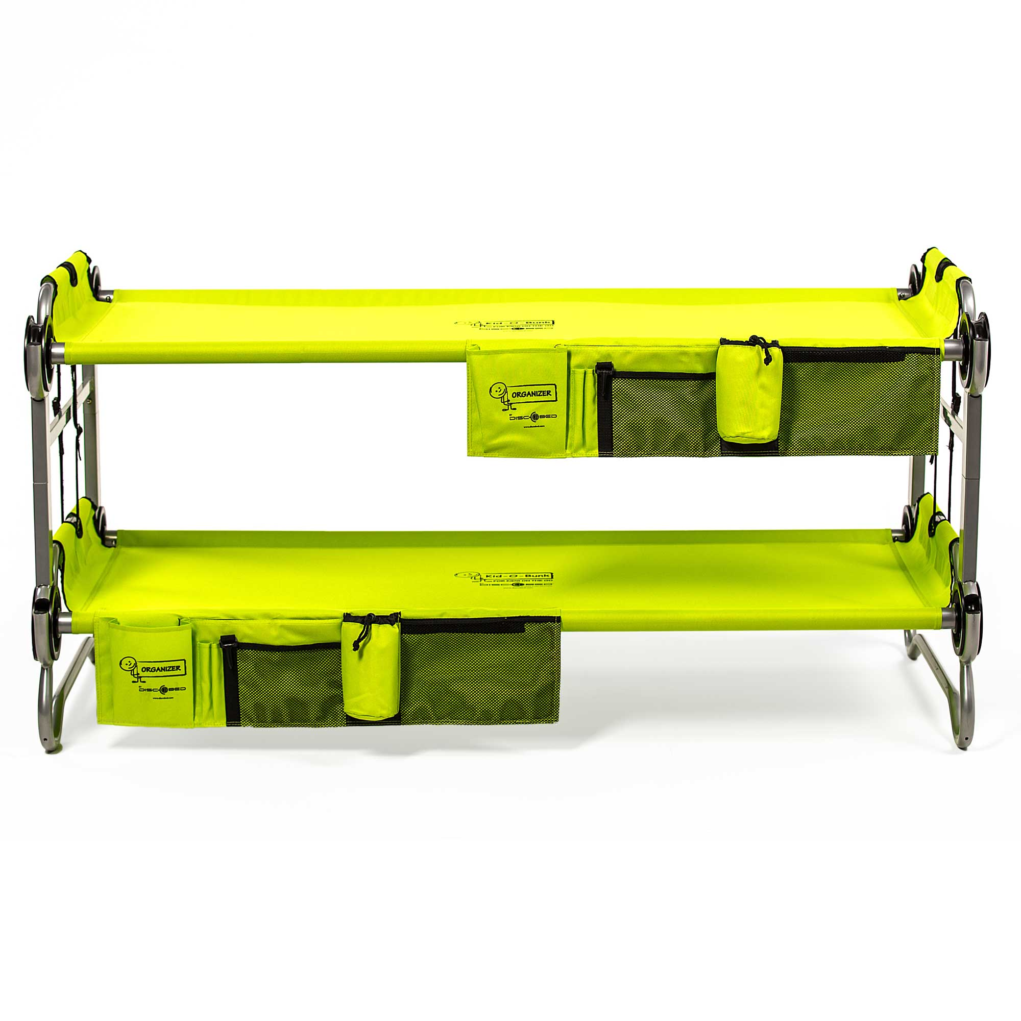 Disc O Bed Youth Kid Bunk Benchable Camping Cot With Organizers Lime Green