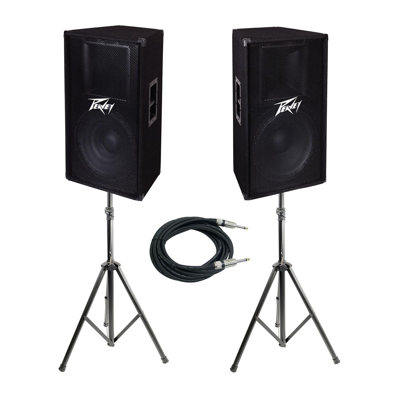 peavey pv 115 15 2 way pro dj live sound speaker speaker stands cable kit ebay. Black Bedroom Furniture Sets. Home Design Ideas