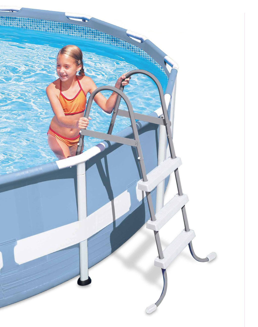 Intex steel frame above ground swimming pool ladder for 42 for Pool ladder