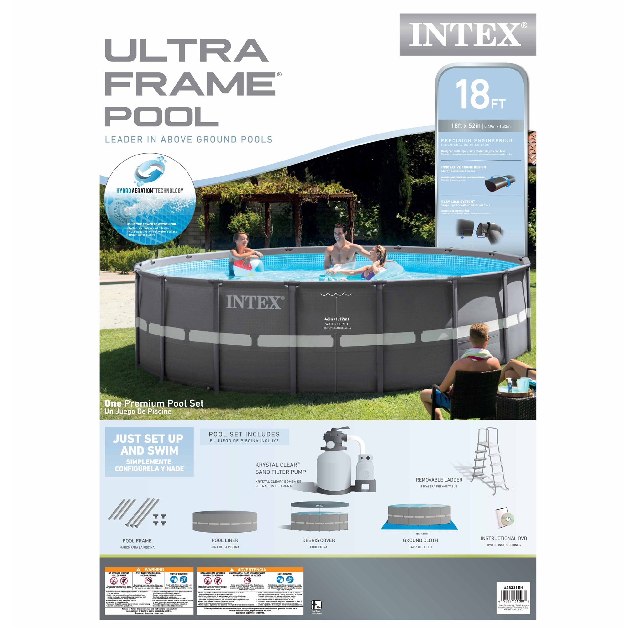 Intex 18 39 X 52 Ultra Frame Swimming Pool Set With 1600 Gph Sand Filter Pump Ebay