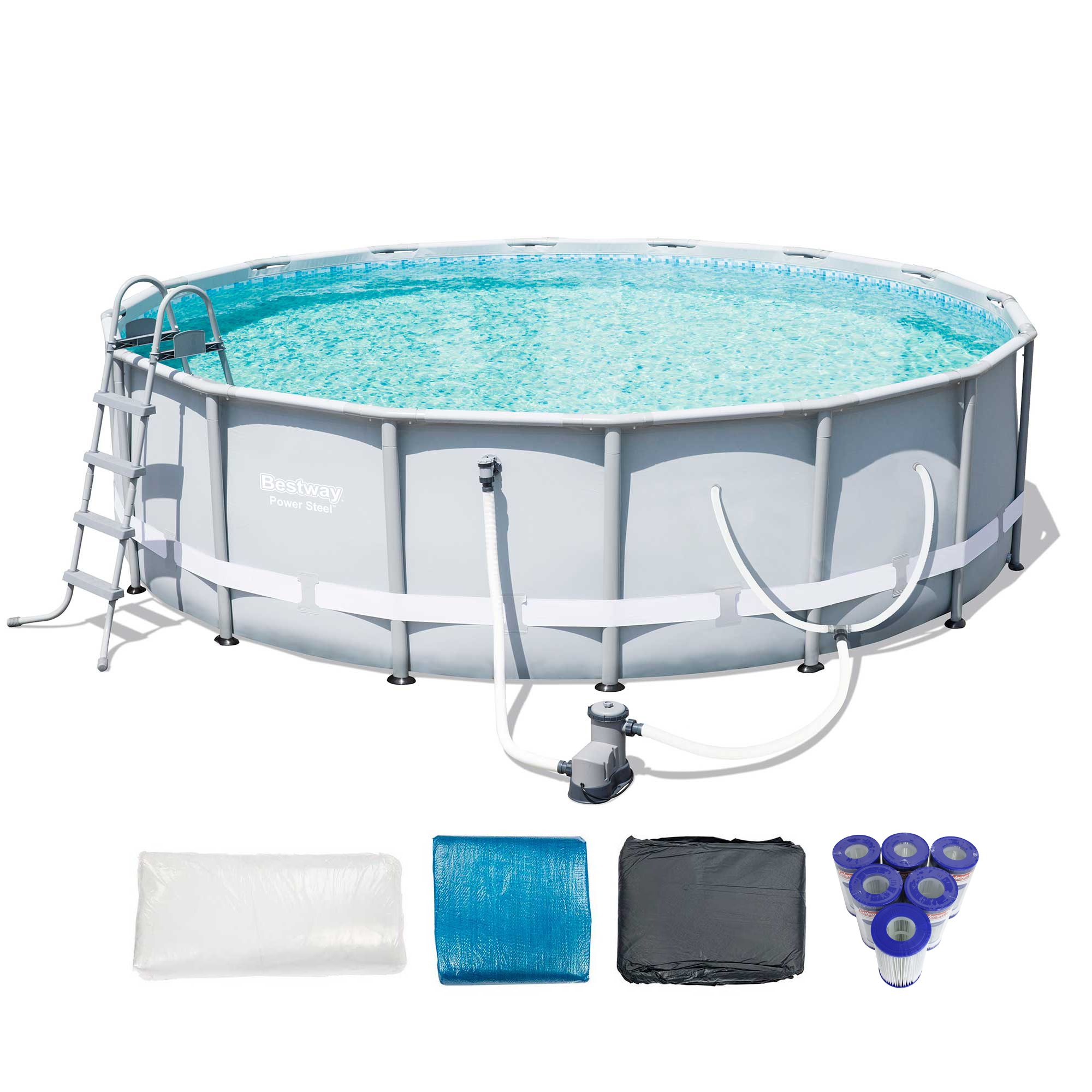 Bestway 16 39 x 48 power steel frame above ground pool set - Bestway steel frame swimming pool ...