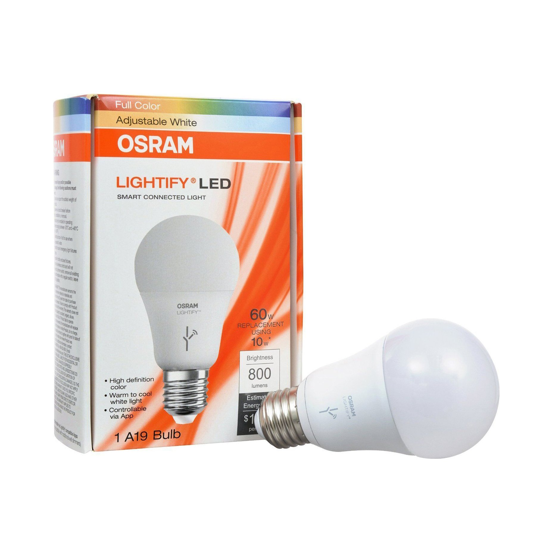 sylvania osram lightify 60w a19 daylight rgb smart led. Black Bedroom Furniture Sets. Home Design Ideas