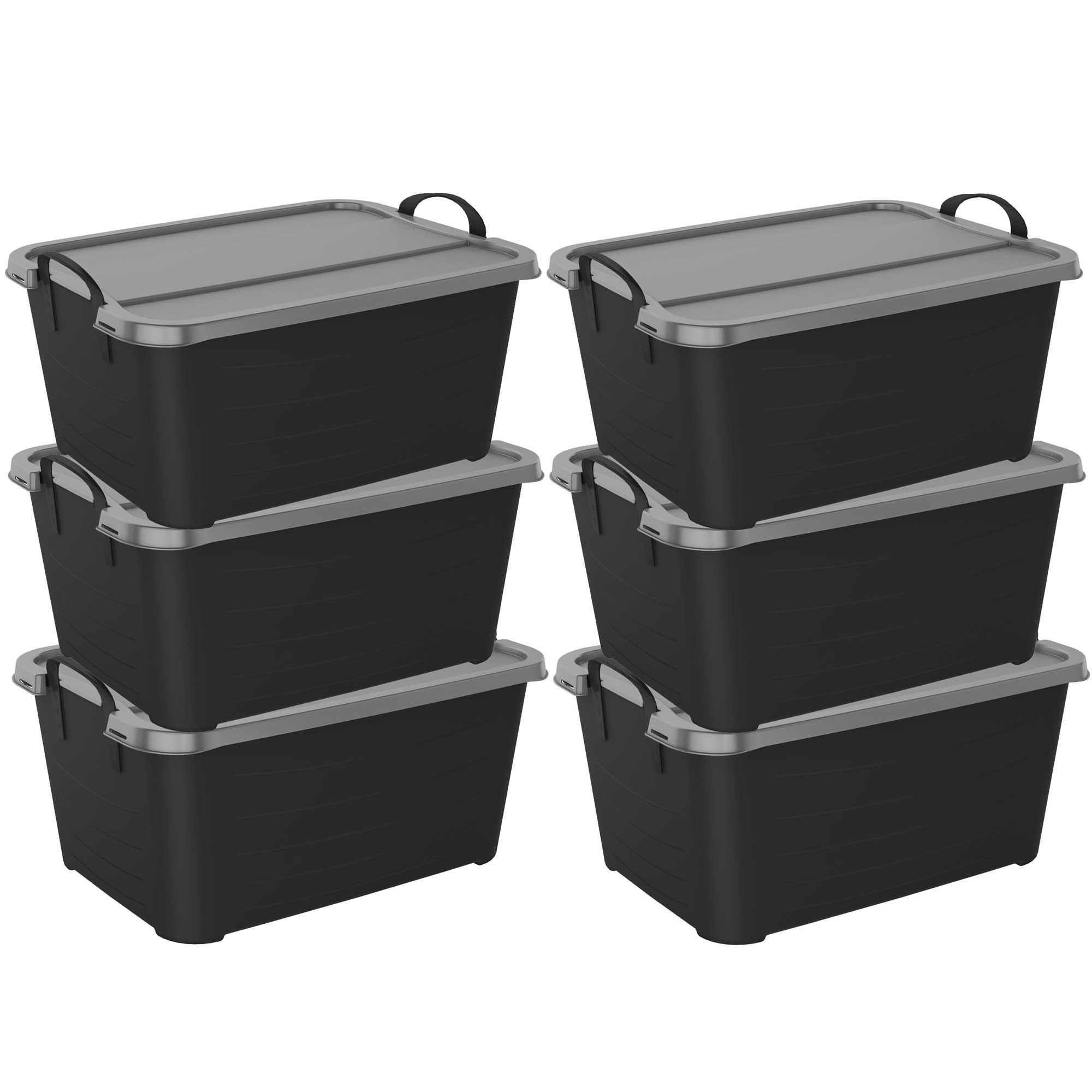 life story stackable locking closet storage box 55 quart. Black Bedroom Furniture Sets. Home Design Ideas