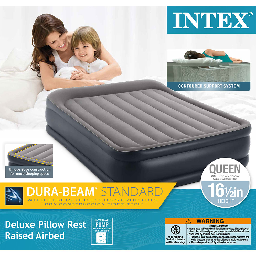 Intex Deluxe Pillow Rest Raised Blow Up Air Bed Mattress W
