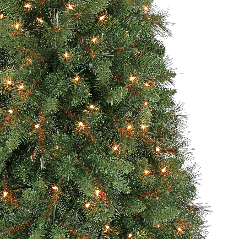 6.5 Ft Crestwood Pine PVC Christmas Tree with Clear or Multicolor ...