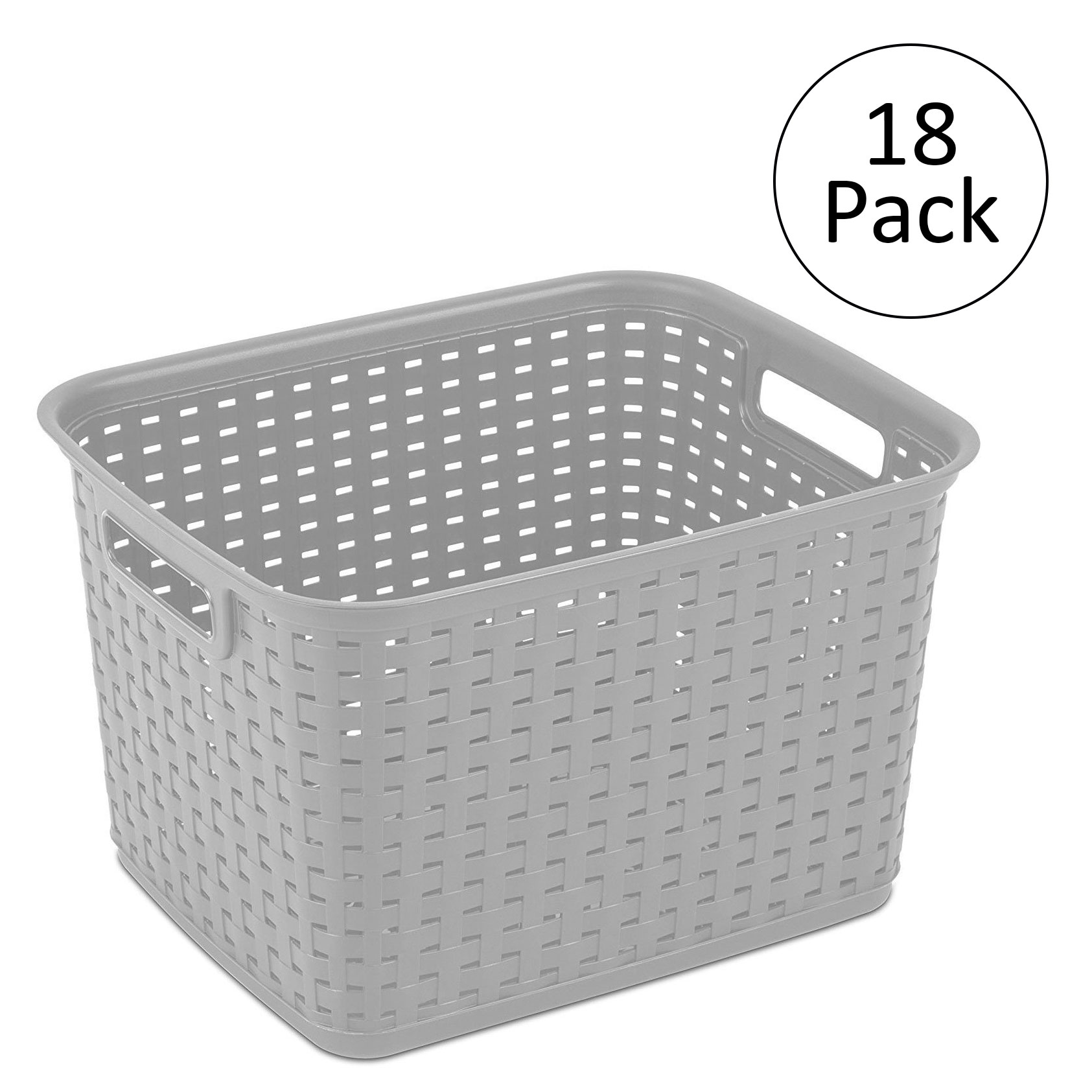 sterilite 12736 tall weave plastic laundry hamper storage basket gray 18 pack 73149096418 ebay. Black Bedroom Furniture Sets. Home Design Ideas