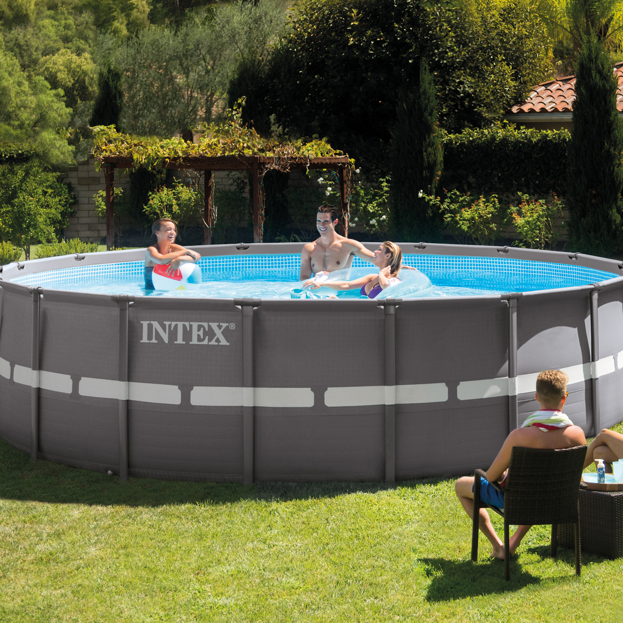 intex 18 39 x 52 ultra frame swimming pool set with 1600. Black Bedroom Furniture Sets. Home Design Ideas