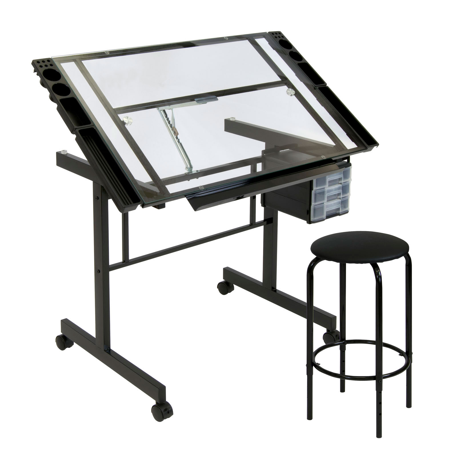 Studio Designs Vision 2 Piece Glass Craft Center Drafting Drawing Table Black