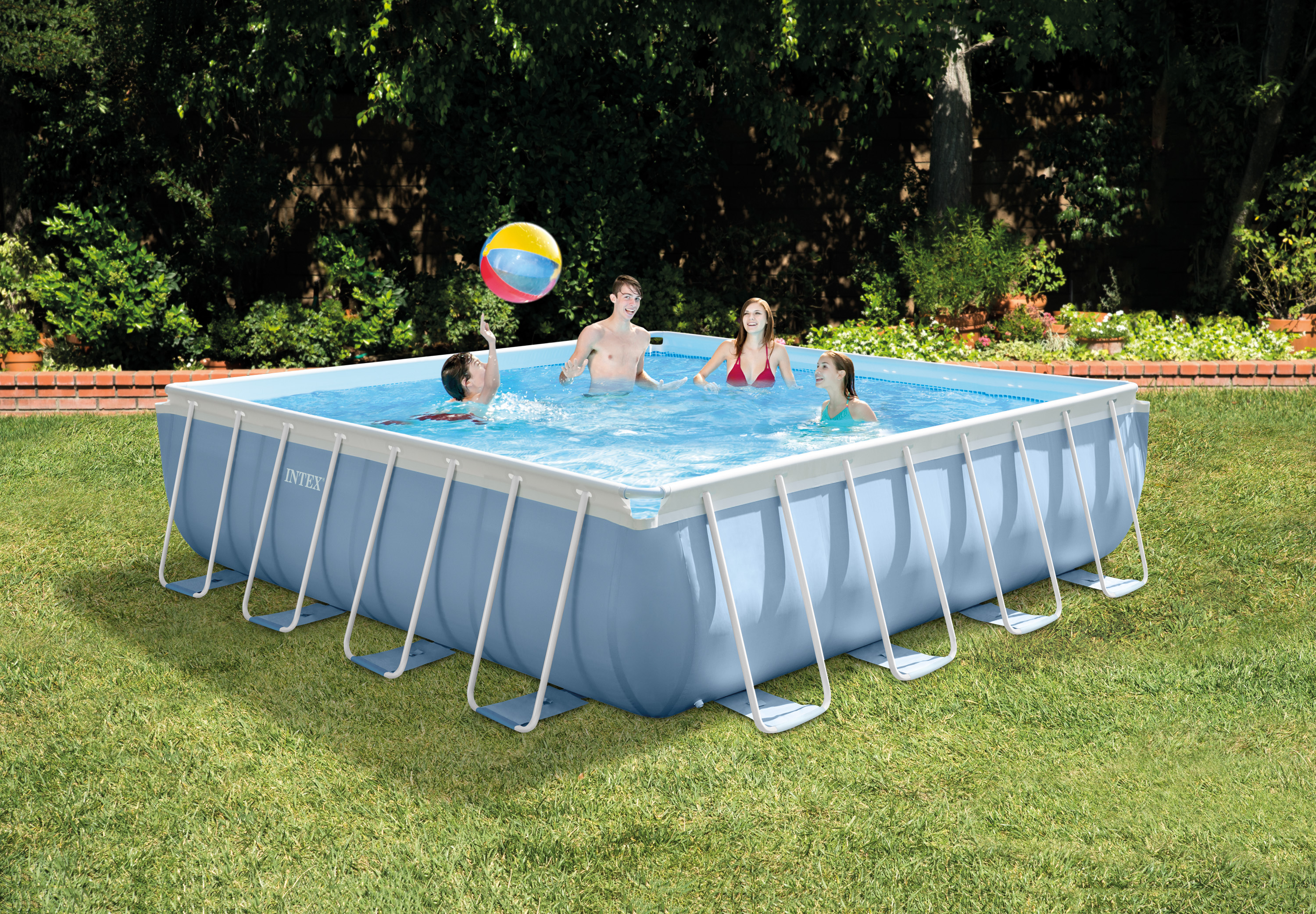 intex 14 x 42 prism xl frame square above ground pool set with filter pump