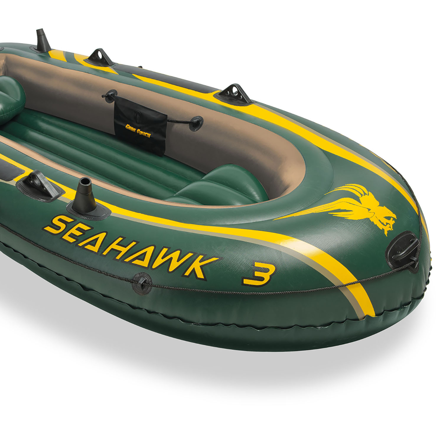Intex seahawk 3 heavy duty inflatable fishing boat with for Inflatable fishing boats