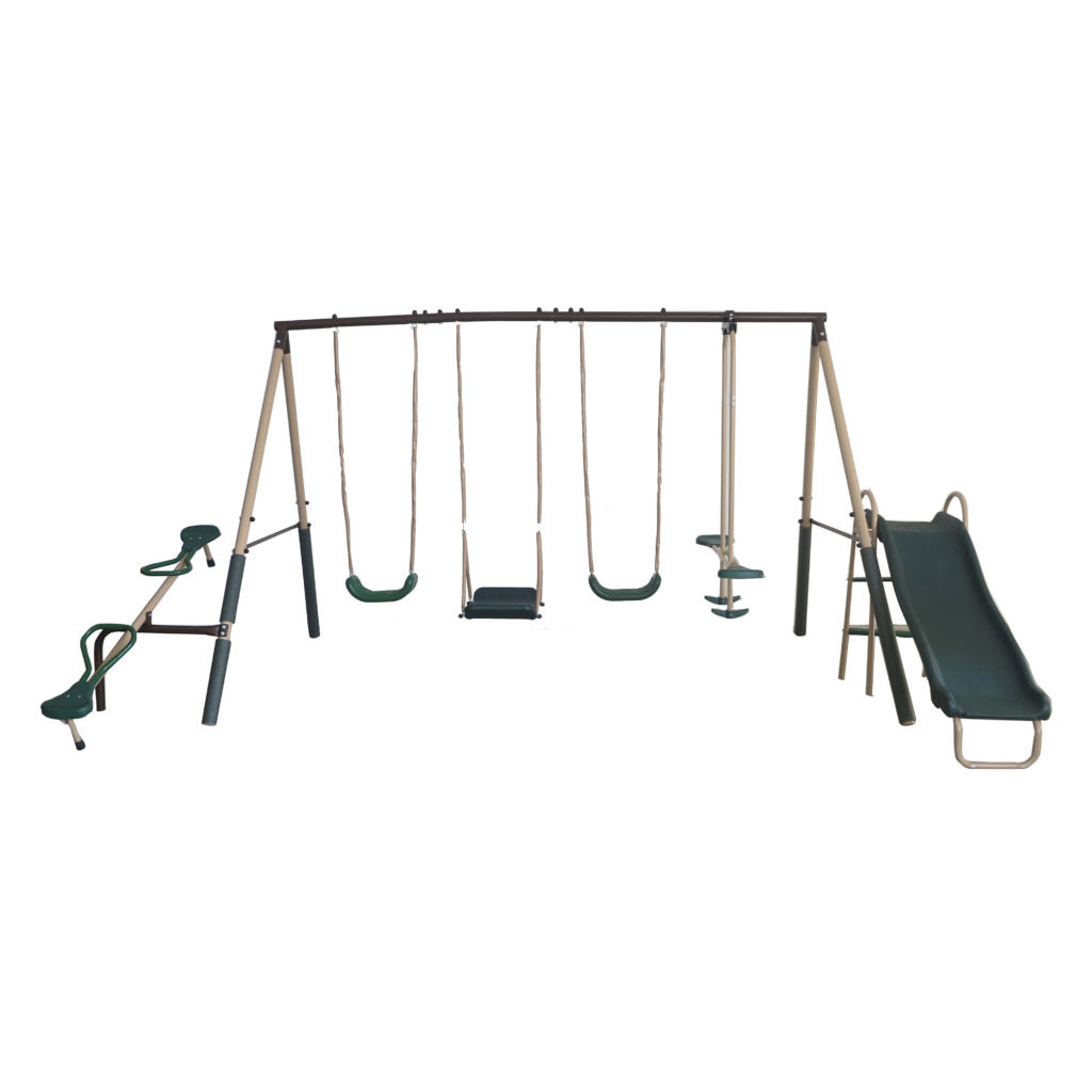 Xdp Backyard Kids Swing Set With Slide And See Saw And Xdp Ground