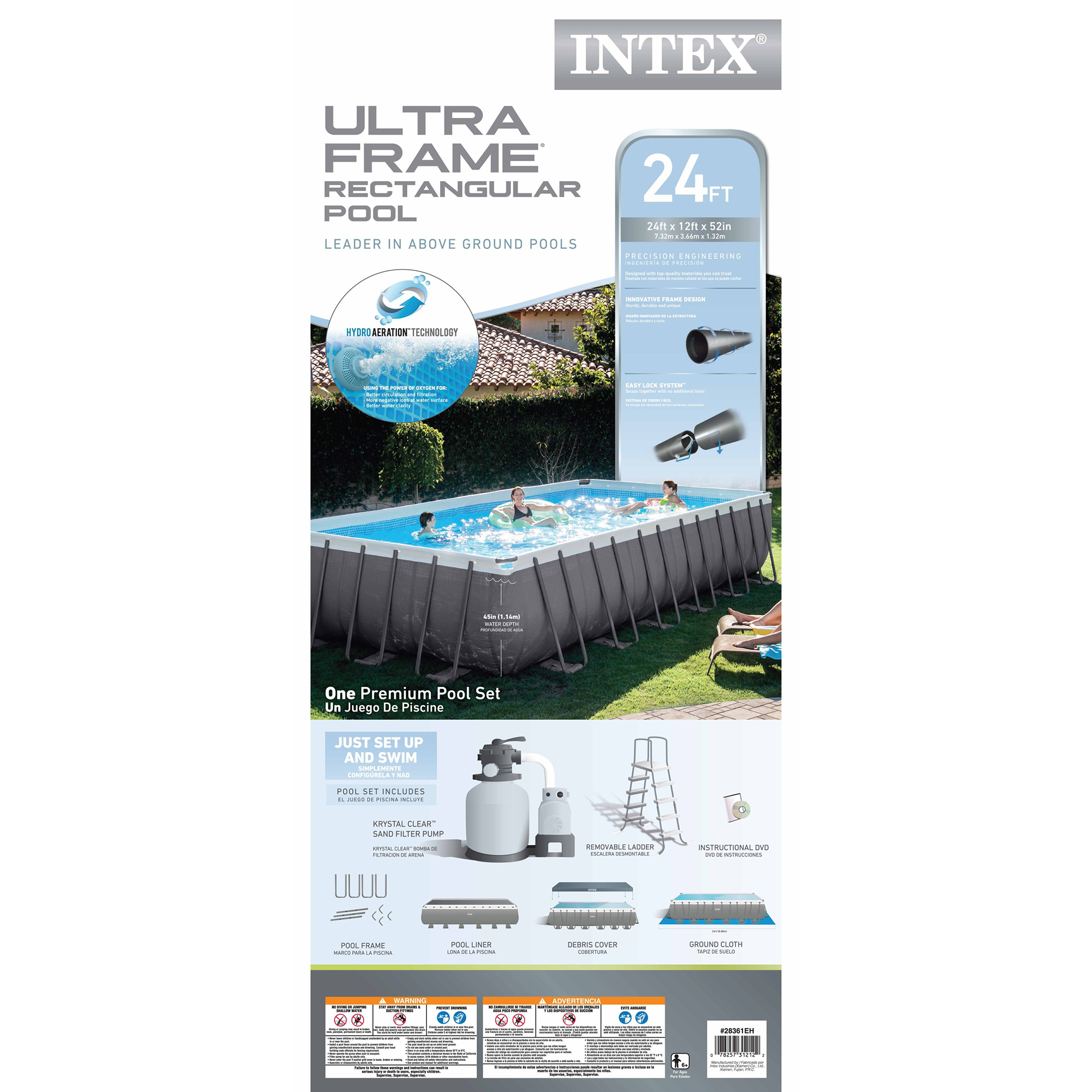Intex 24 39 X 12 39 X 52 Ultra Frame Rectangular Swimming Pool Set 26361eh 733281560917 Ebay