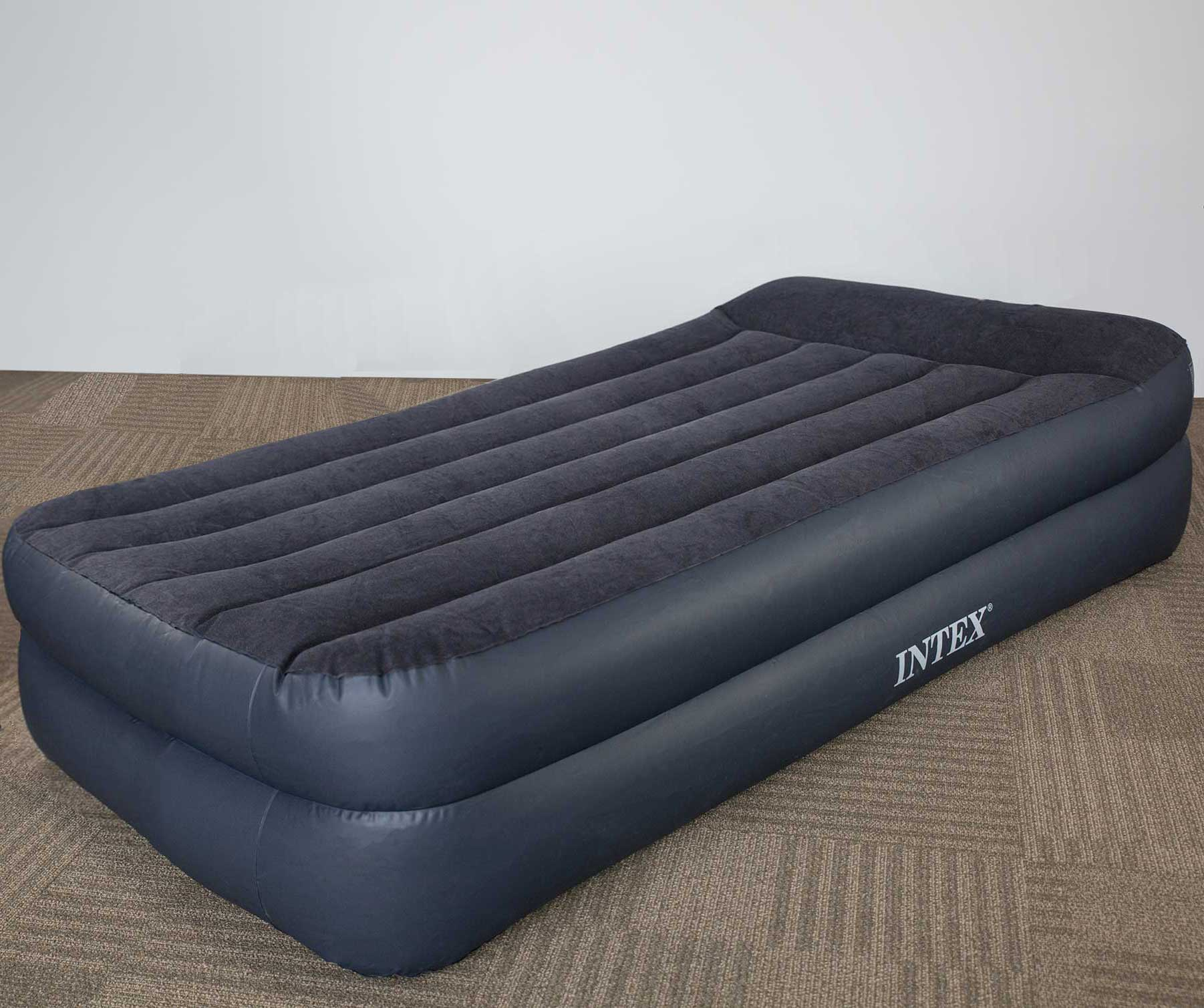 intex twin raised pillow air mattress bed with built in. Black Bedroom Furniture Sets. Home Design Ideas