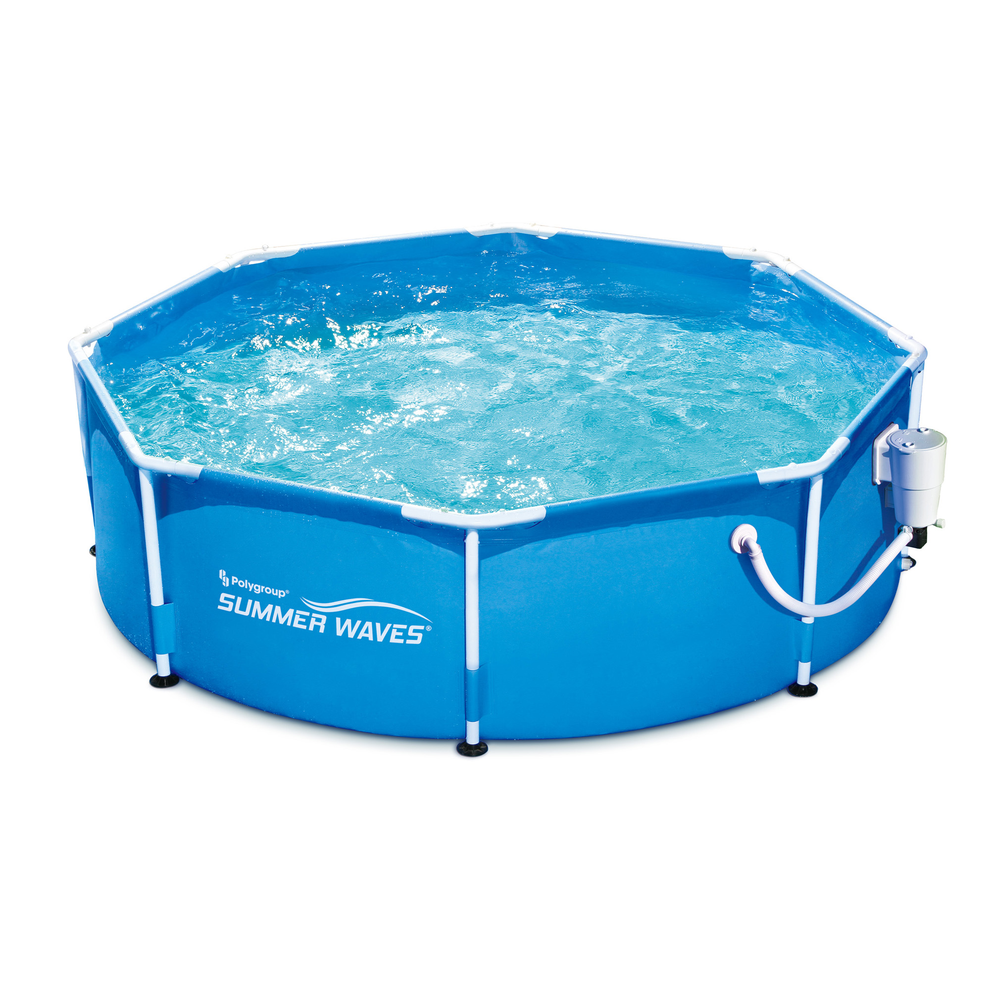 Summer waves 8 39 ft metal frame above ground pool with filter pump ebay - Steel frame pool ...