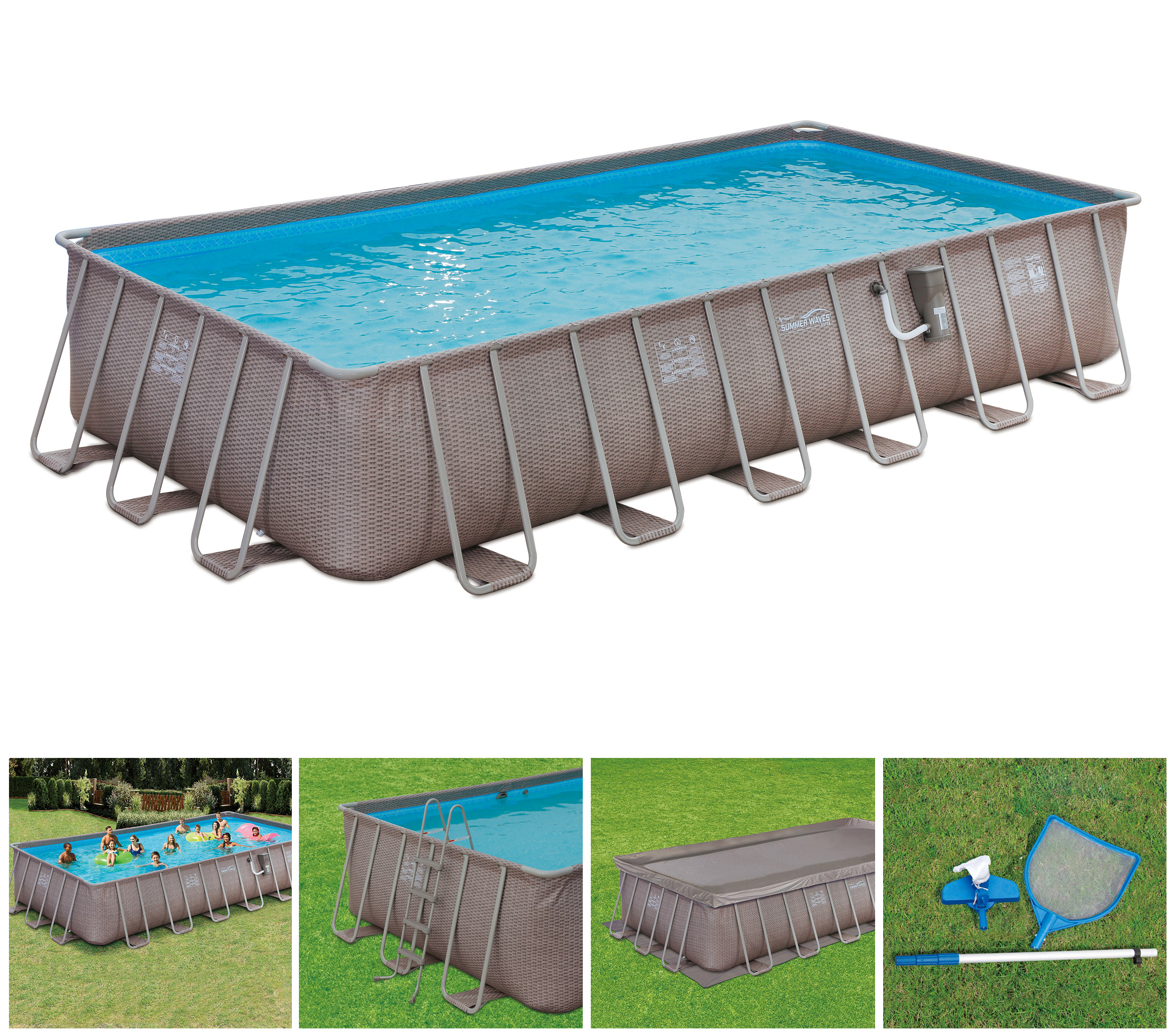 Summer Waves 24â X 12â 52â Above Ground Rectangle Frame Pool Set Brown Wicker
