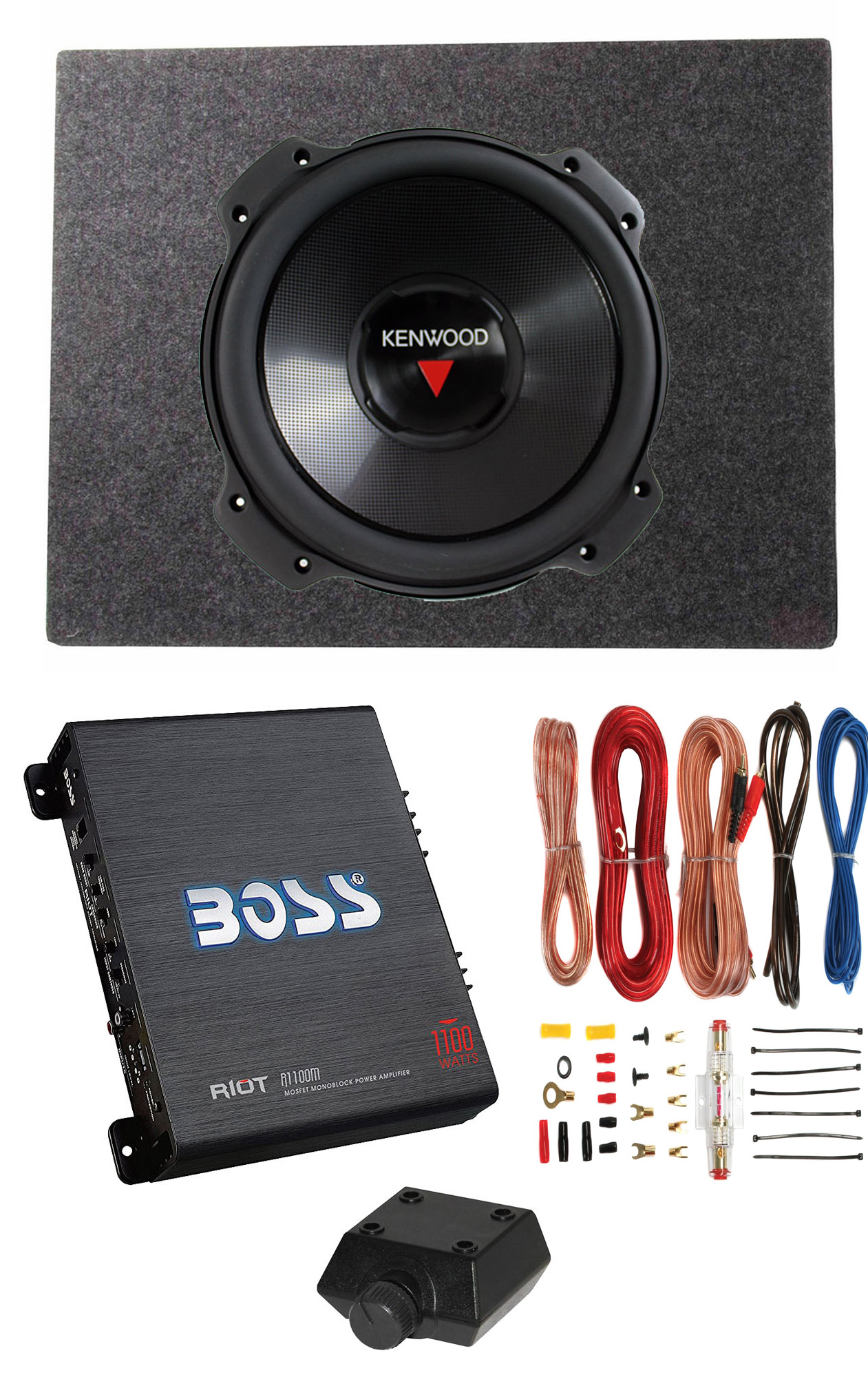 Details about Kenwood 12 Inch 2000W 4 Ohm Subwoofer + Sealed Sub Box +  Amplifier & Wire Kit