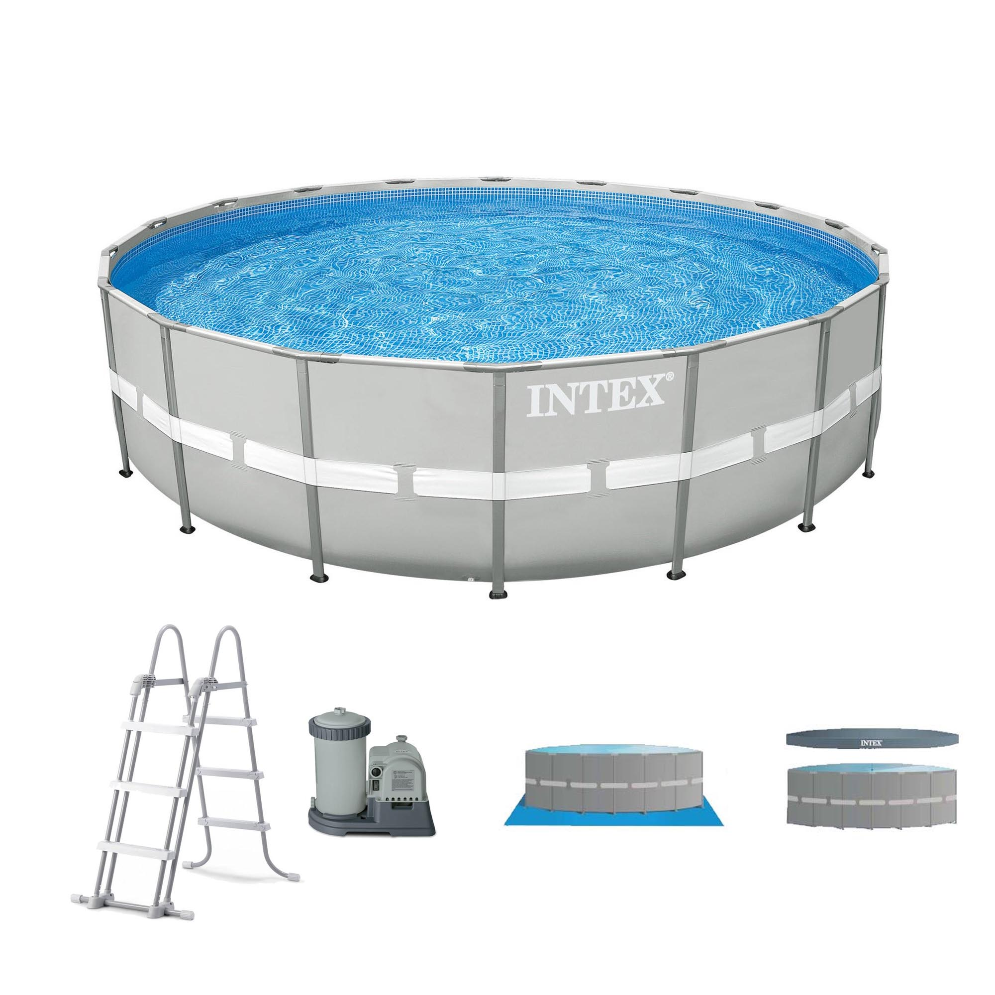 Intex 20 39 x 48 ultra frame above ground swimming pool set for Billige pool sets