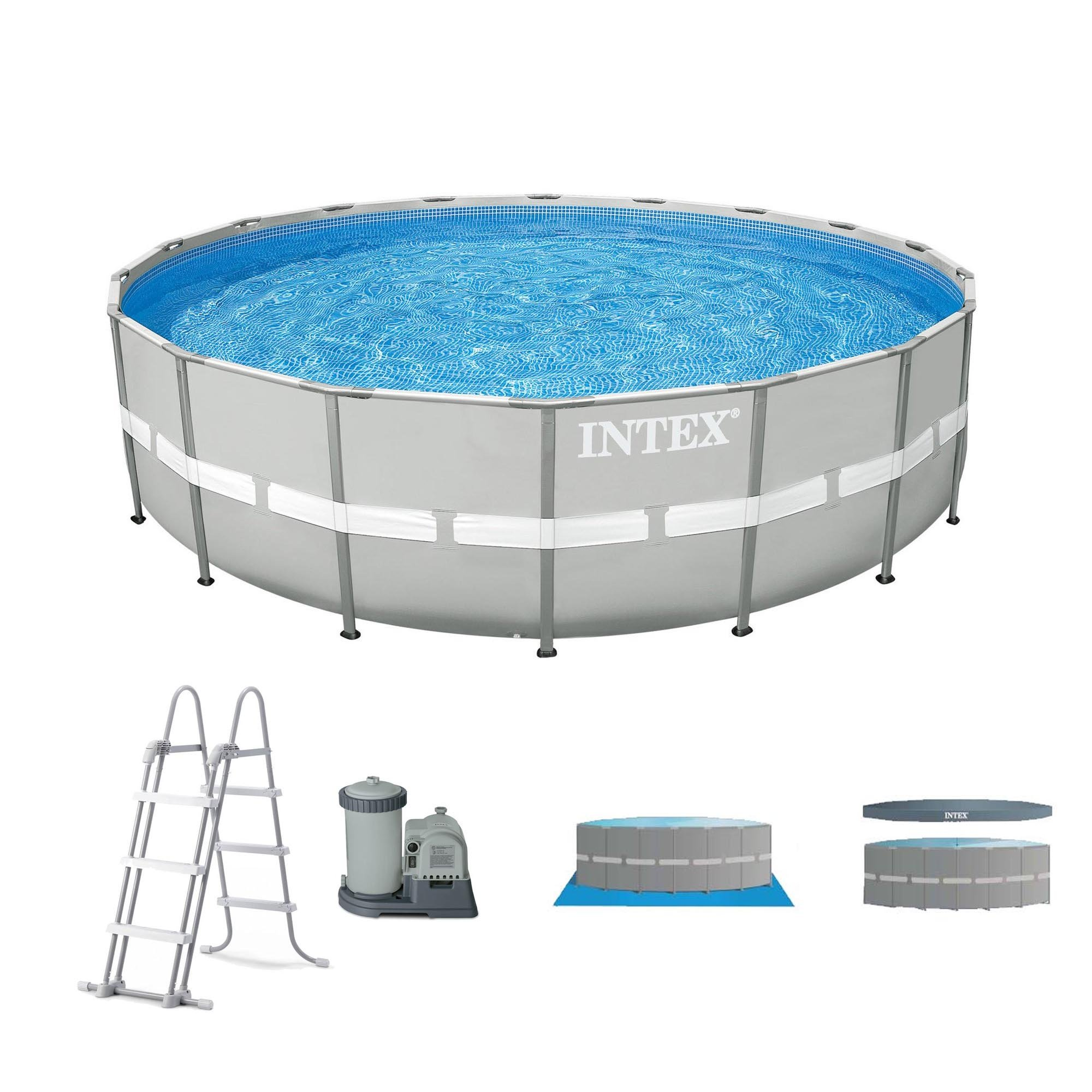 Intex 20 39 x 48 ultra frame above ground swimming pool set w pump and ladder 78257263035 ebay for Swimming pool pumps for above ground pools