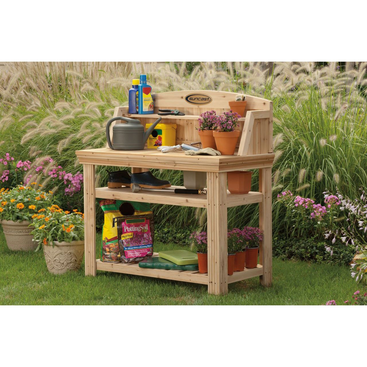 Stupendous Details About Suncast Pt4500 Cedar Potting Bench With Natural Finish And Two Storage Shelves Creativecarmelina Interior Chair Design Creativecarmelinacom