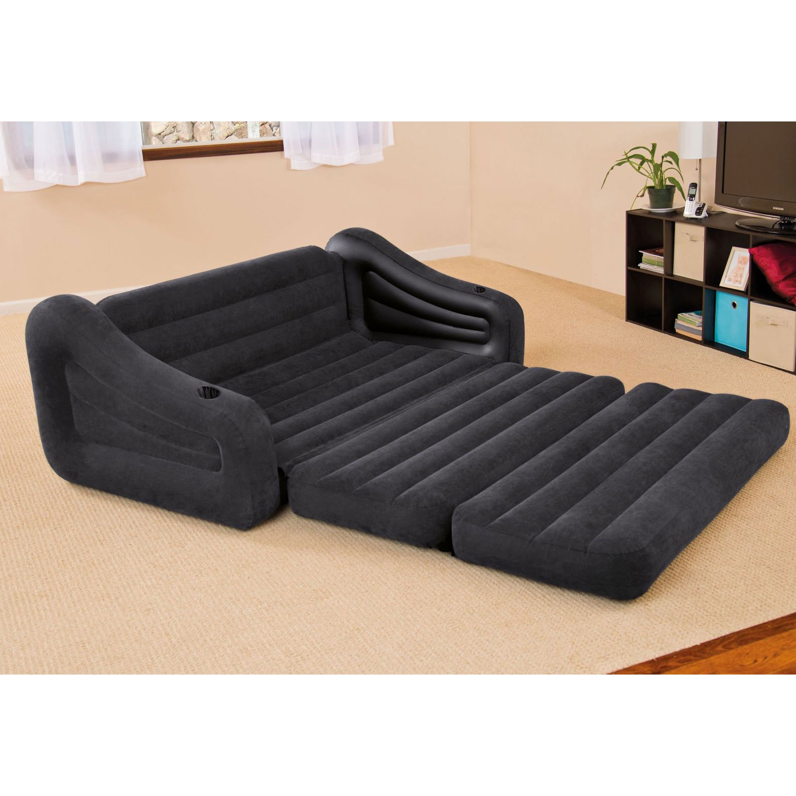 Intex inflatable queen size pull out futon sofa couch bed dark gray 68566ep