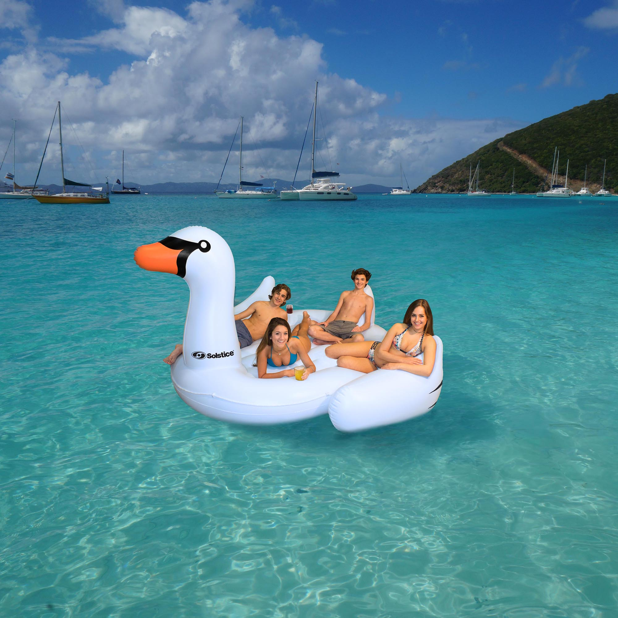 Swimline Giant Swan Inflatable Ride On Swimming Pool Float