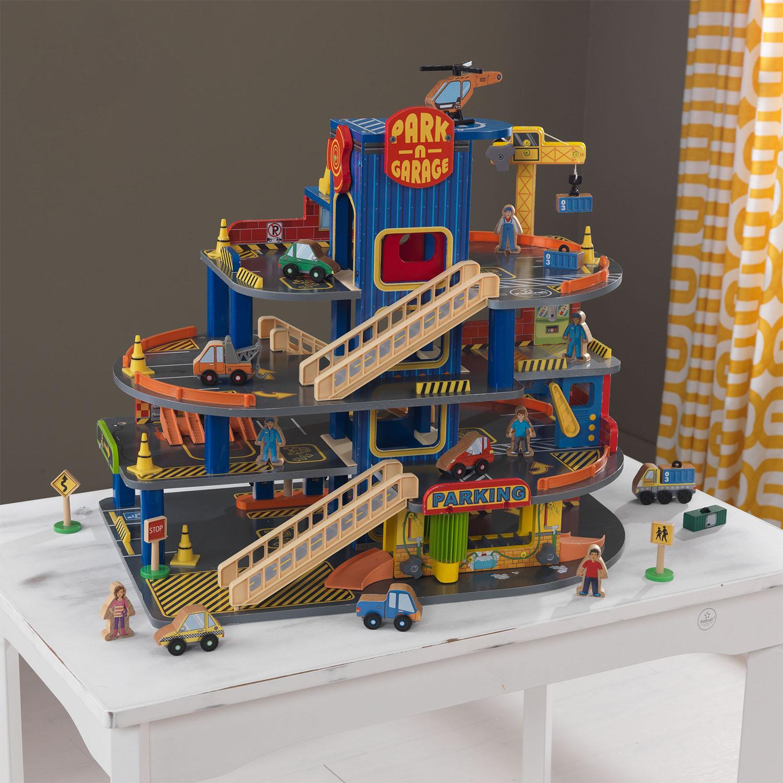 kidkraft deluxe 4 level detailed wooden car garage 32. Black Bedroom Furniture Sets. Home Design Ideas