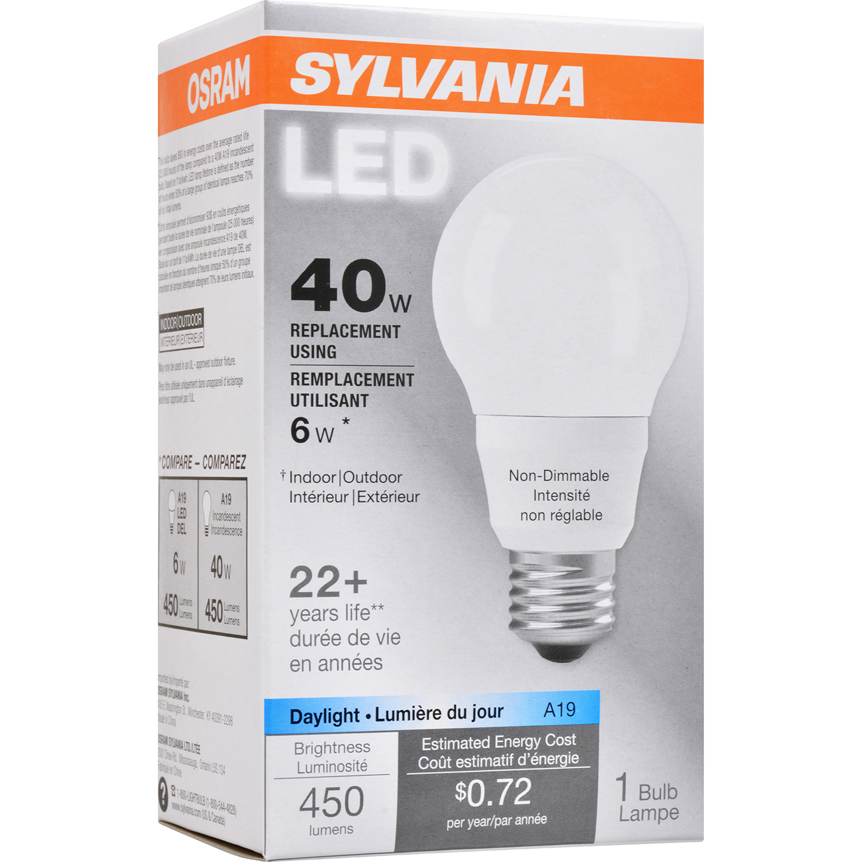Elegant Lighting 40w Equivalent Soft White E26 Dimmable: Sylvania A19 40W 120V E26 Non-Dimmable White Daylight LED