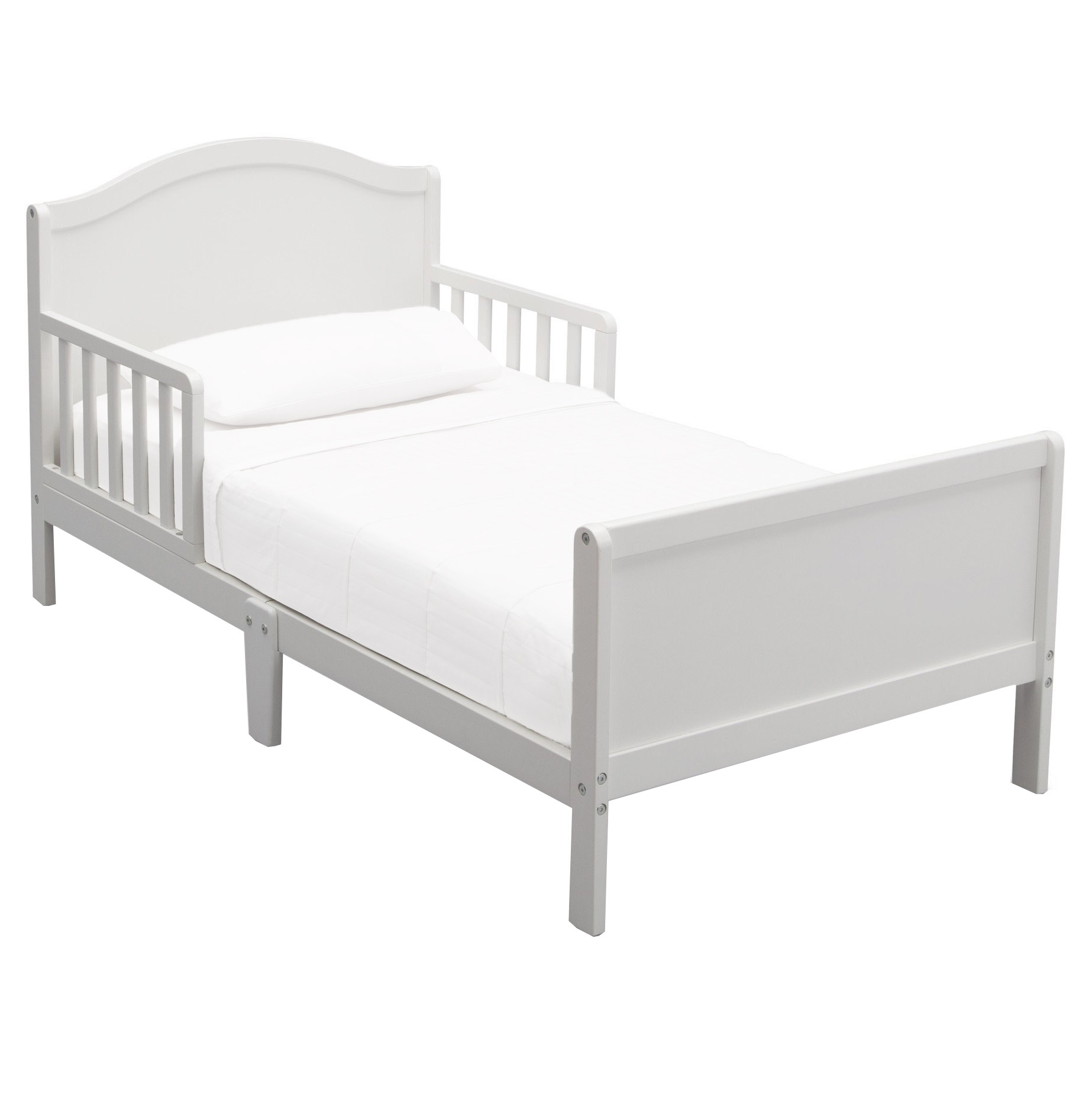 Delta Children Bennett Toddler Bed Frame With Guardrails White Bed