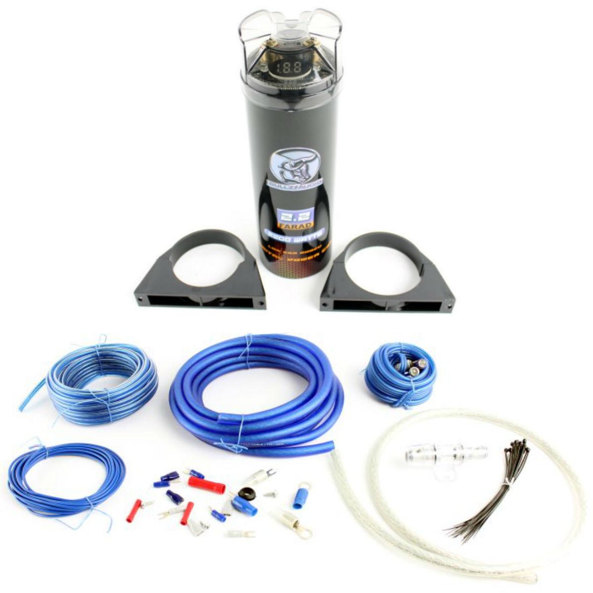 bullz audio bcap2.2 farad capacitor + epak4b 4 gauge amp ... 2 gauge wiring kit