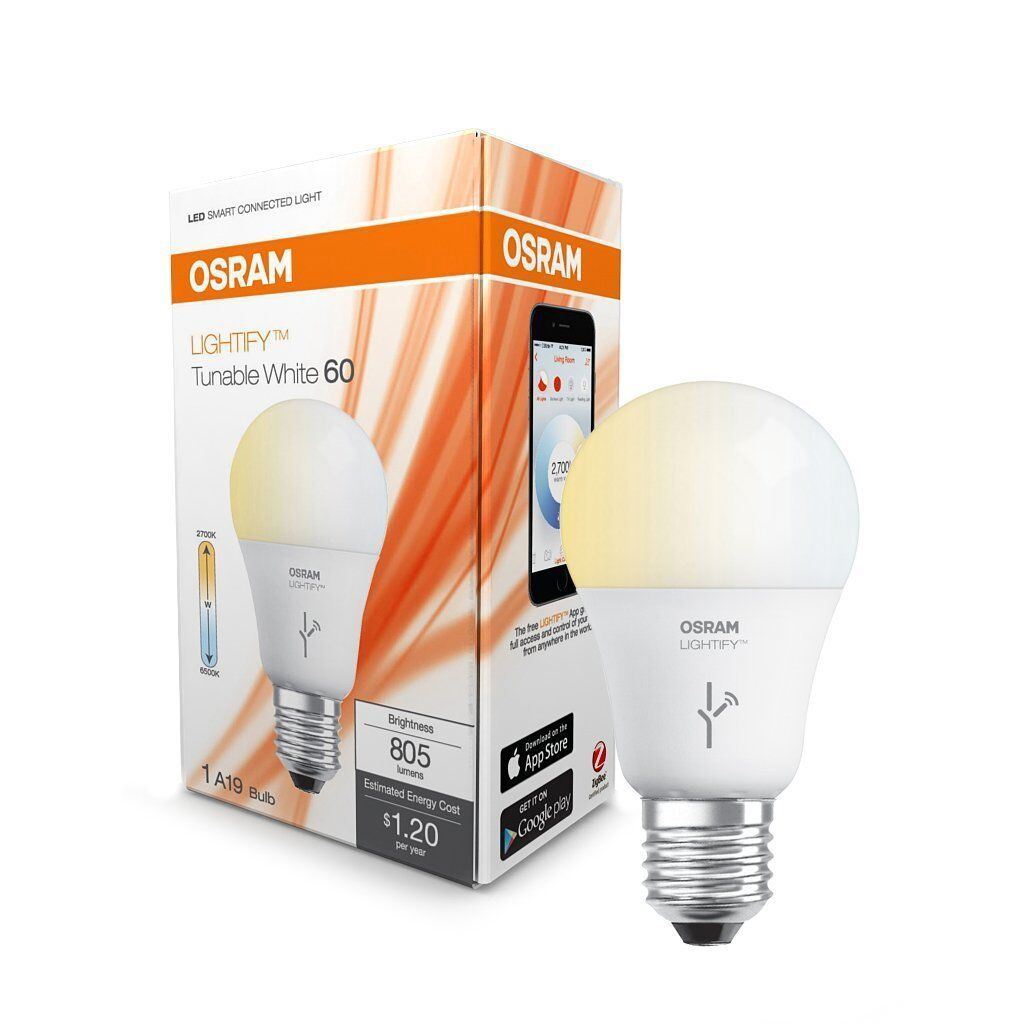 Sylvania Osram Lightify 60 Watt A19 Tunable Smart. Sylvania Osram Lightify 60 Watt A19 Tunable Smart Home LED Light