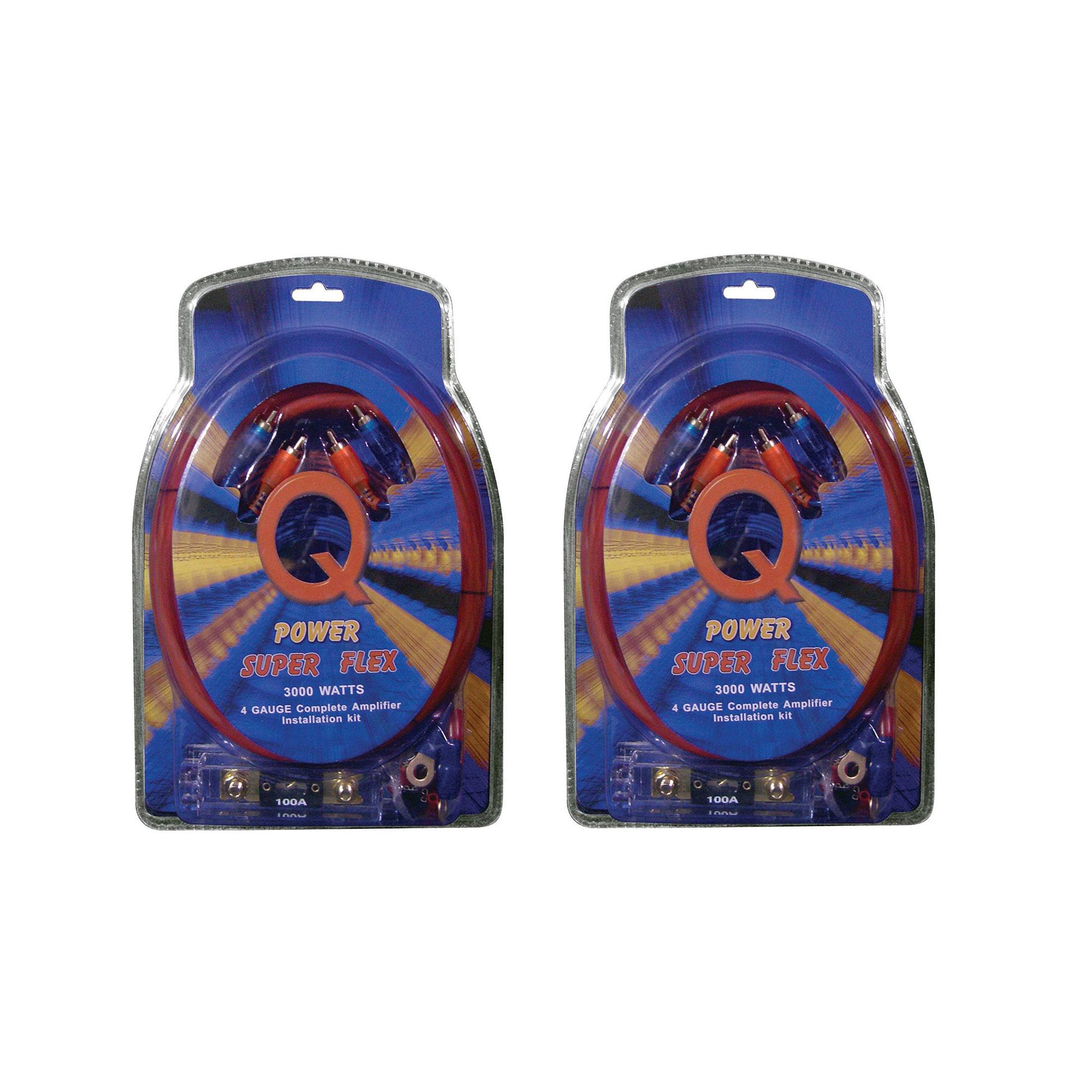 Q Power Super Flex 4 Gauge 3000 Watt Amplifier Car Audio Wiring Amp Bullz Sub Install Kit 2 Pack