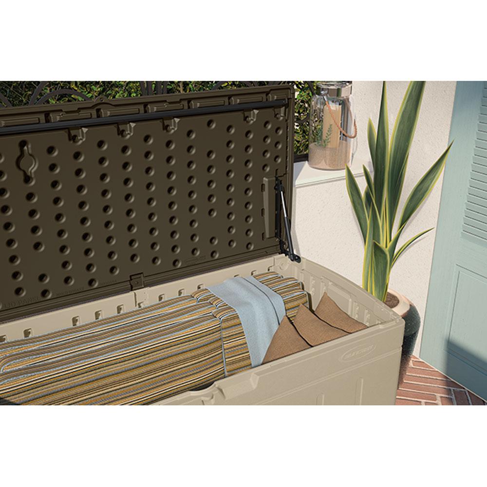 Suncast 99 gallon outdoor patio furniture hard plastic deck storage box sand