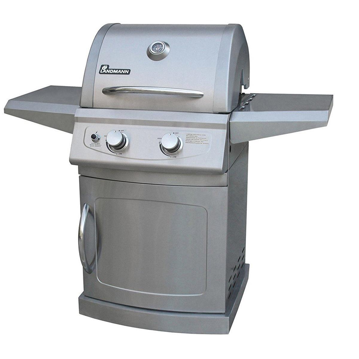 landmann lan-42204 falcon 2 burner 4 caster stainless steel gas