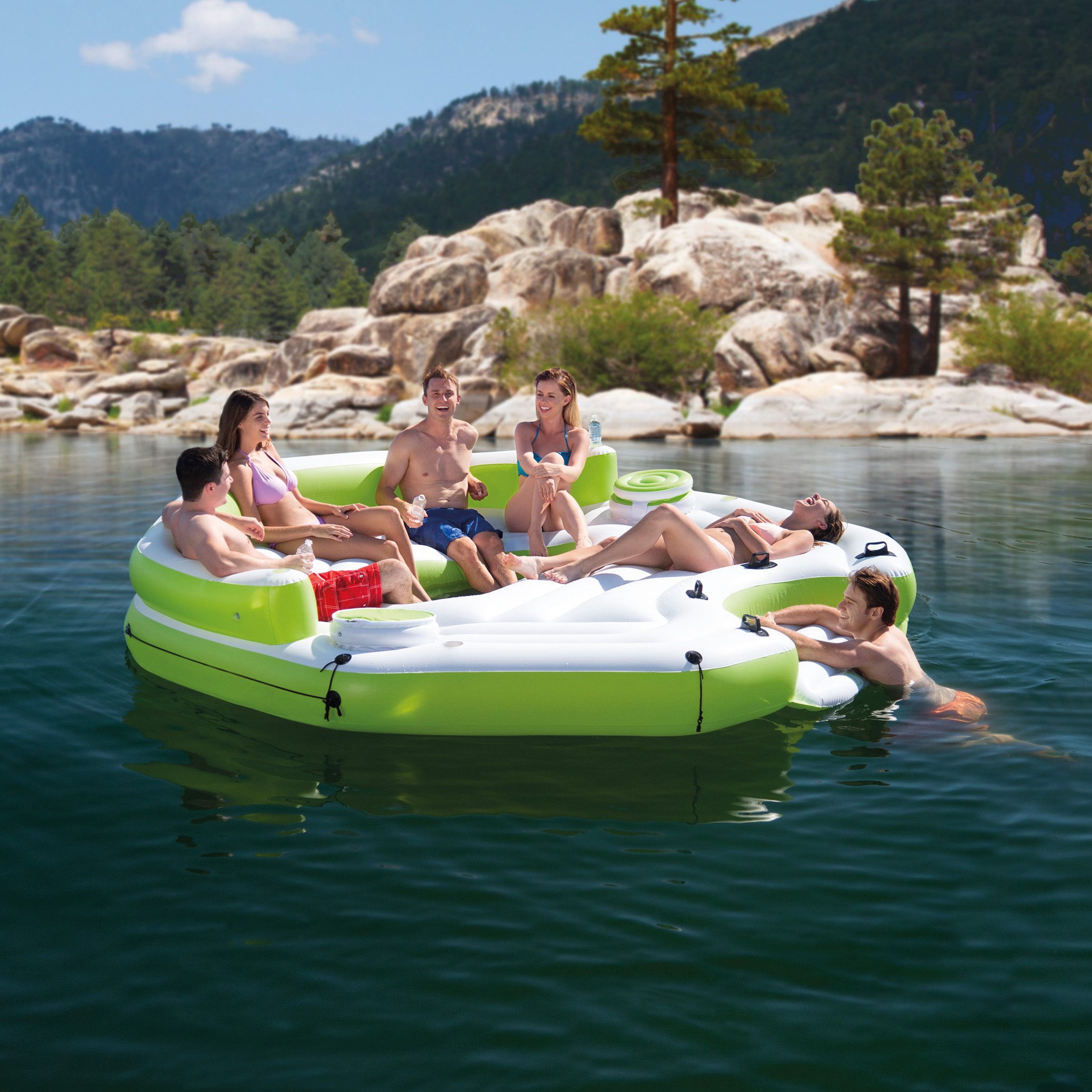 Intex Inflatable Key Largo Party Island Float W Coolers Cupholders 2 Pack