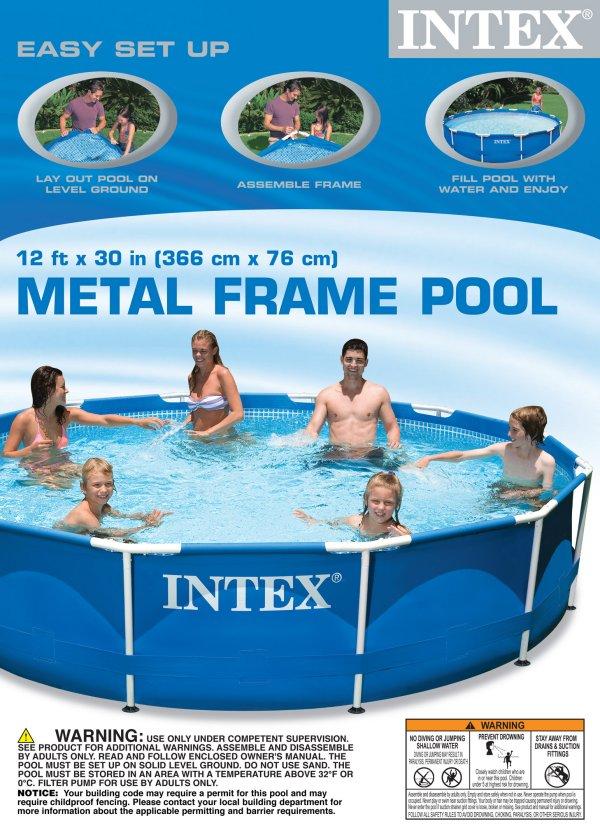 Intex 12 x 30 metal frame set swimming pool w filter pump 28211eh open box ebay - Intex 12x30 metal frame pool ...