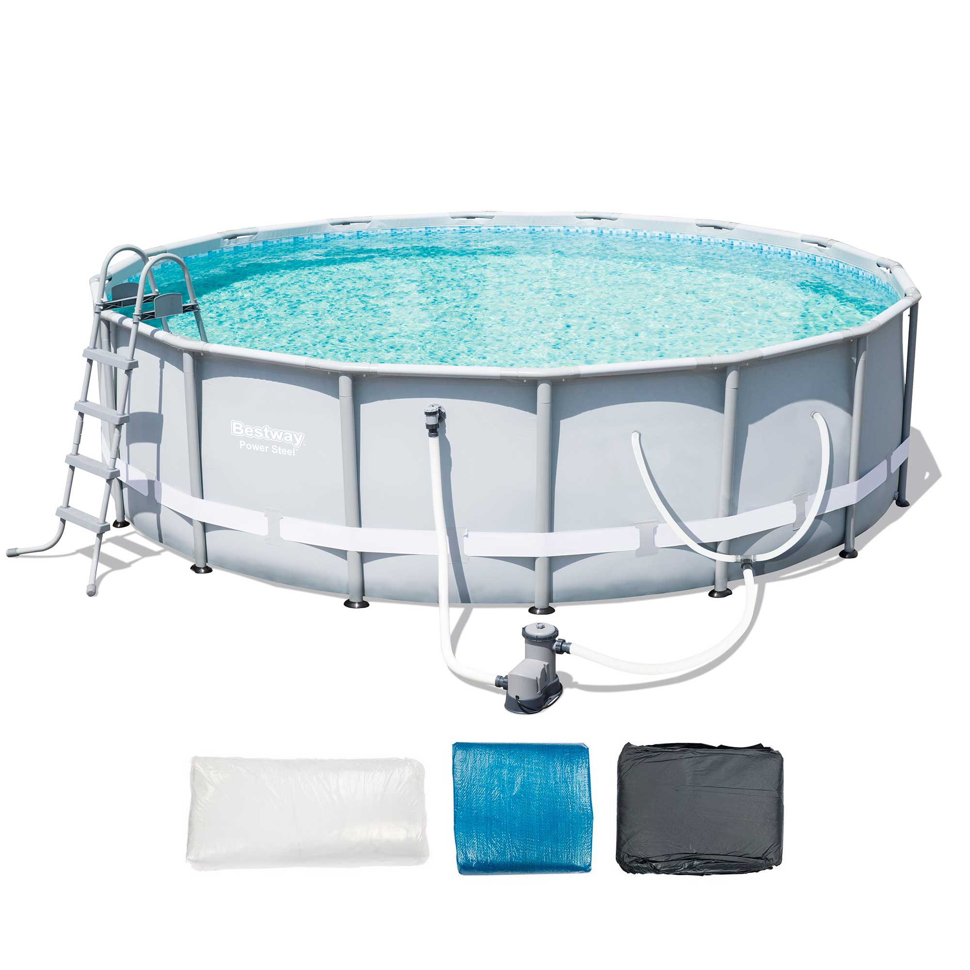 Bestway 16 39 x 48 power steel frame above ground pool set for Above ground pool set