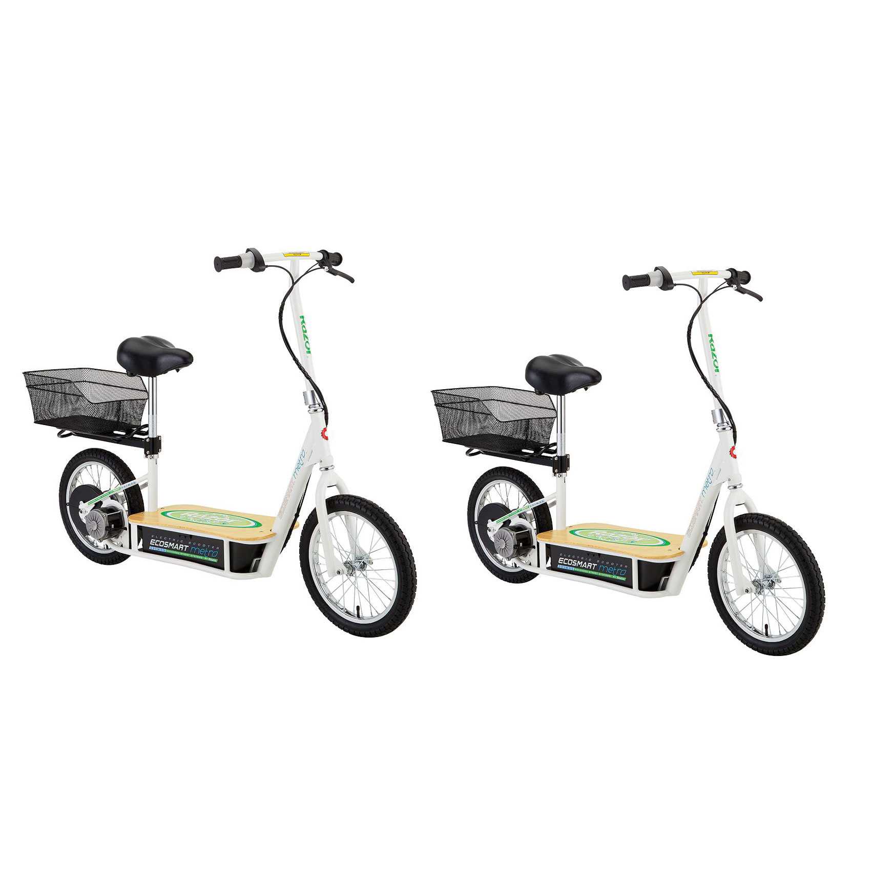 razor ecosmart metro electric economical green scooter with seat  u0026 rack  2 pack