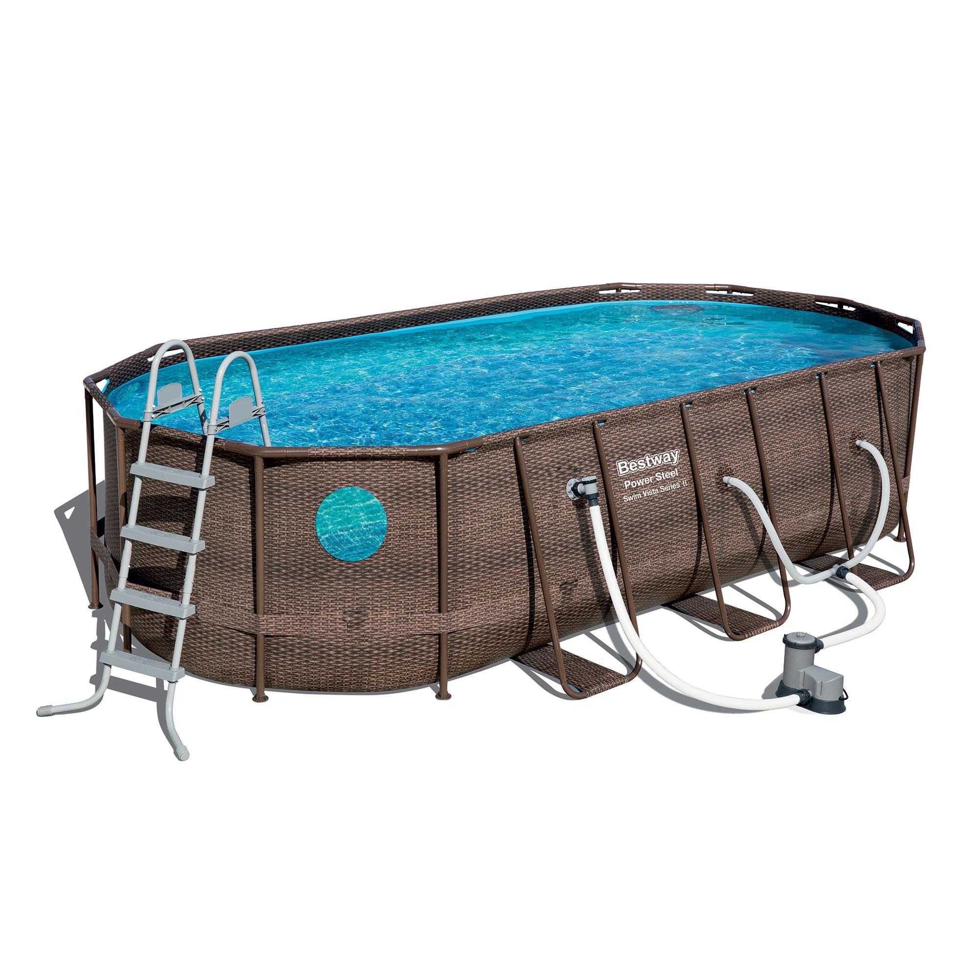Details about Bestway Power Steel Swim Vista 18 x 9 x 4 Foot Swimming Pool  Set with Pump