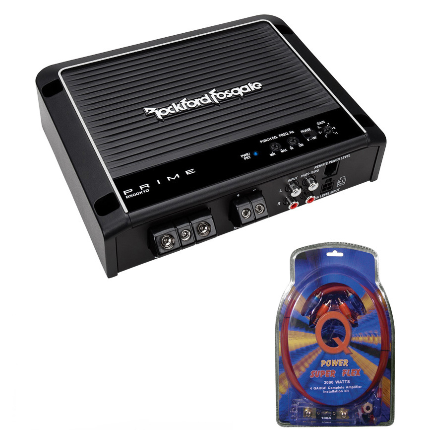 Details about Rockford Fosgate Prime R500X1D 500 Watt RMS Mono Car Class D  Amplifier+Amp Kit