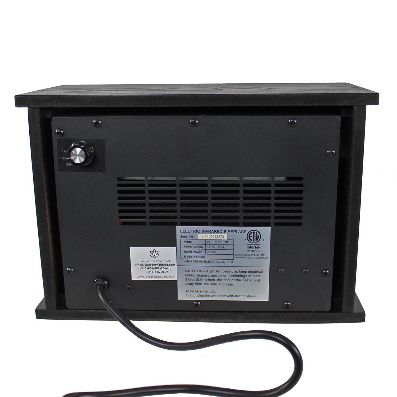 Lifepro lifesmart 750 watt infrared quartz mini wood for Small room quartz heater