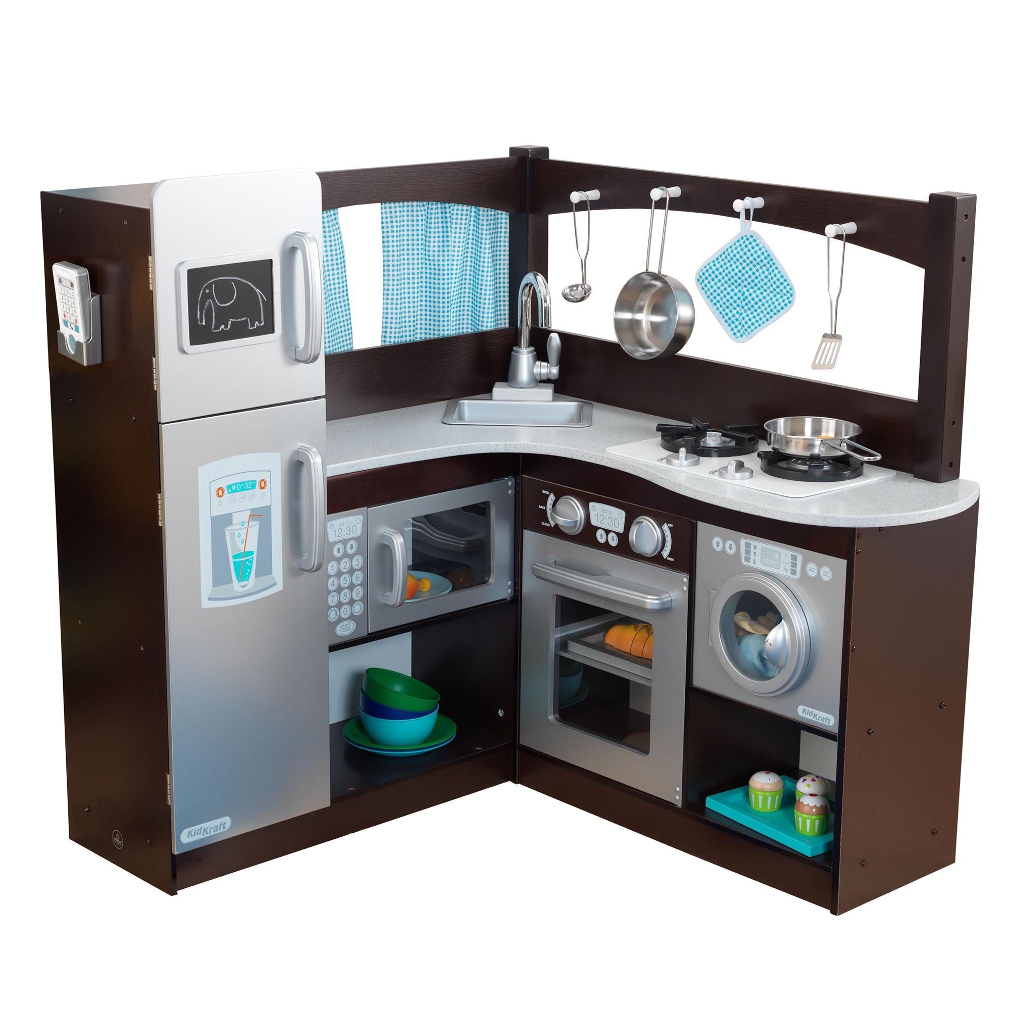 Details about KidKraft Grand Gourmet Uptown Espresso Corner Wood Play  Kitchen & Metal Cookware