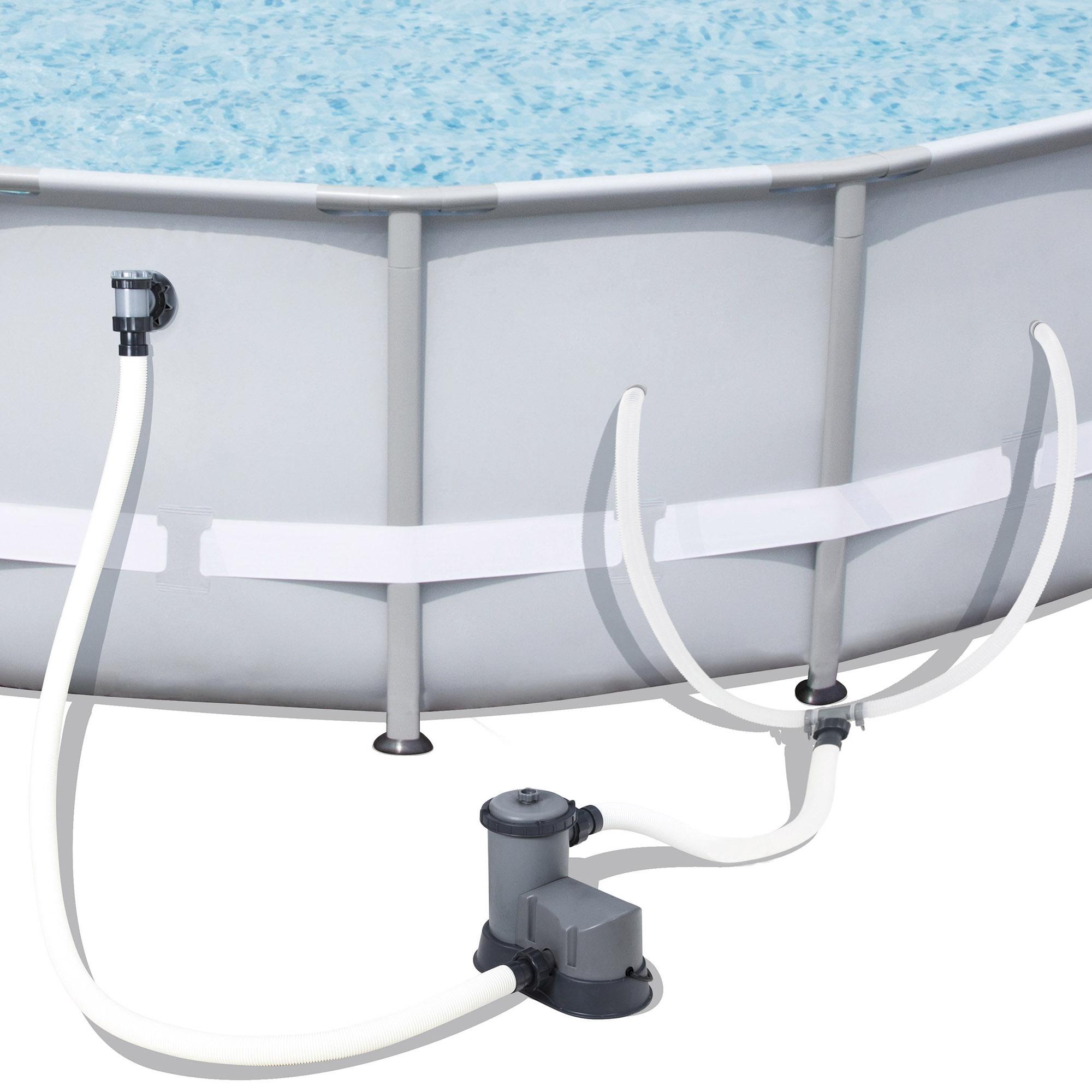 Bestway steel pro 18 39 x 48 frame pool set w pump ladder for Frame pool obi